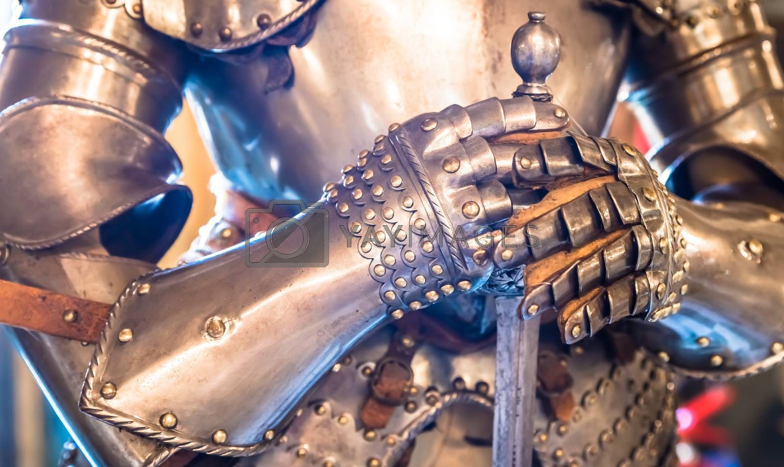 Detail of a Middle age knight armour - 15th Century. Concept for security, safety and protection.