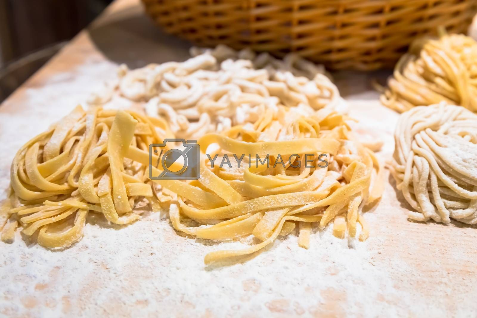Rome, Italy. A closeup of traditional Italian cuisine. Preparation of delicious Bucatini pasta.