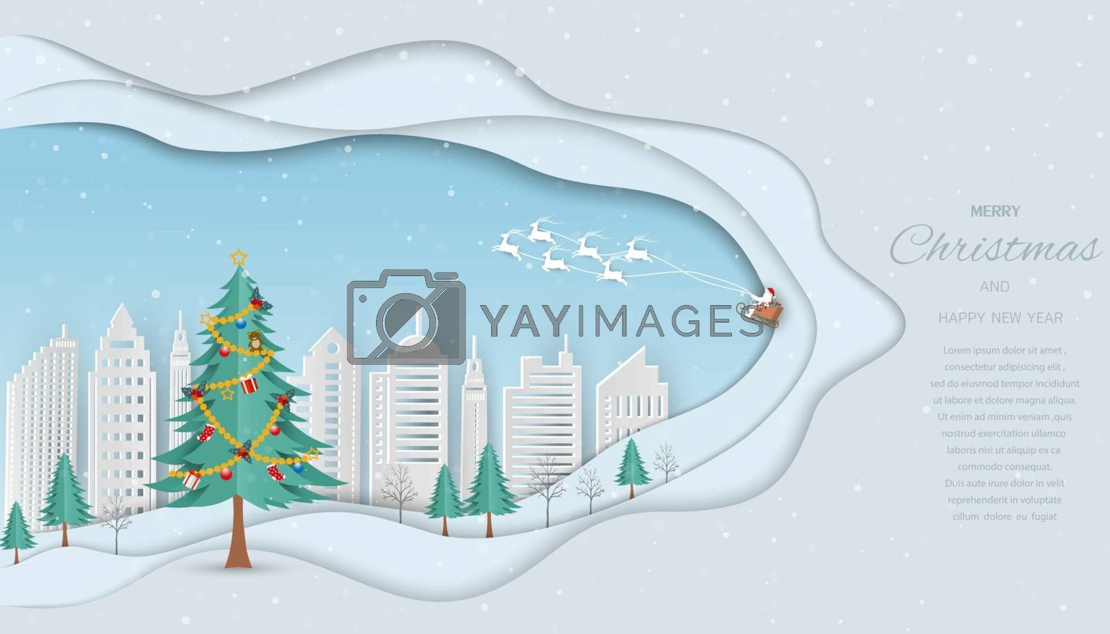 Merry Christmas and Happy new year greeting card,Santa Claus coming to white  city with gift boxes on winter background,vector illustration