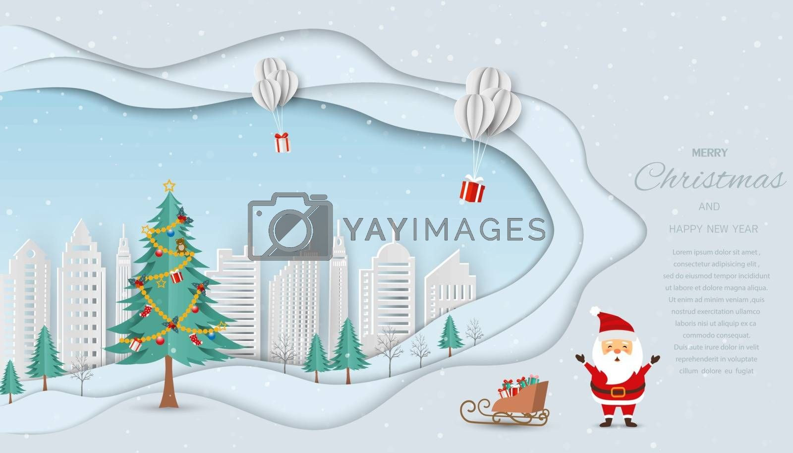 Merry Christmas and Happy new year greeting card,Santa Claus send gift boxes by balloons to white city,vector illustration