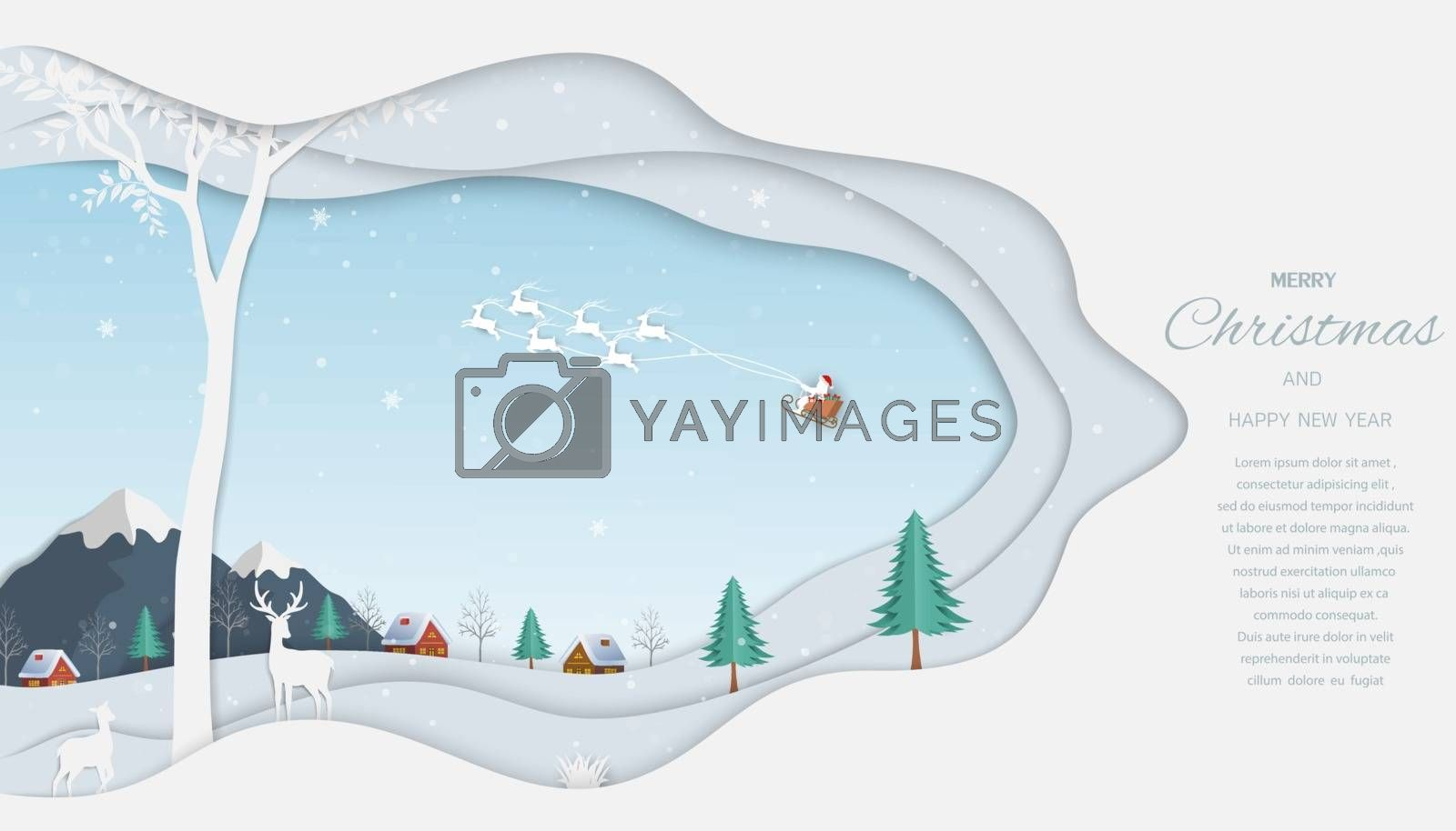 Merry Christmas and Happy new year greeting card,reindeer with Santa Claus on winter background by PIMPAKA