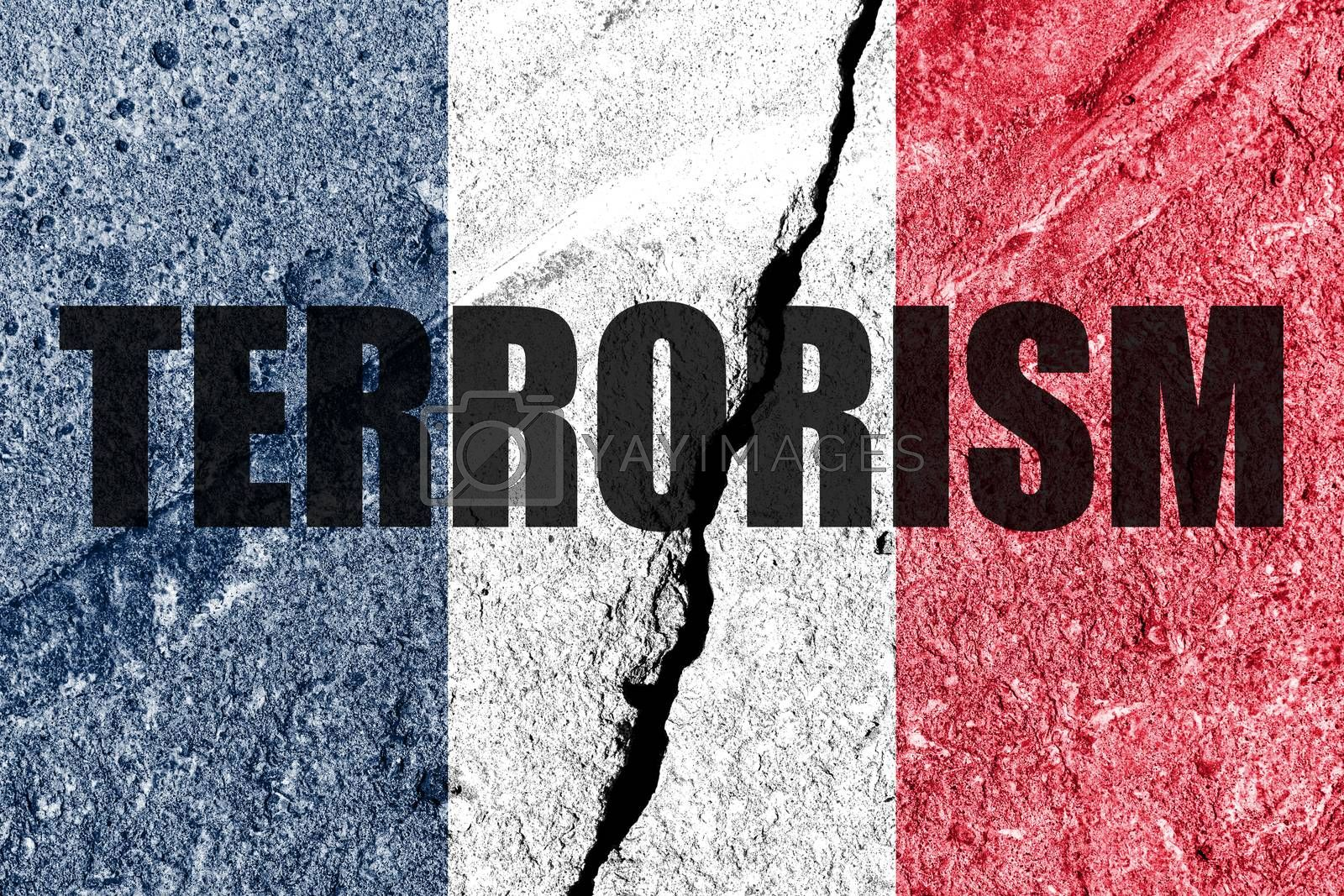 France flag on cracked concrete wall. The concept of terrorism and islamic conflict in the country. Abstract disaster symbol.