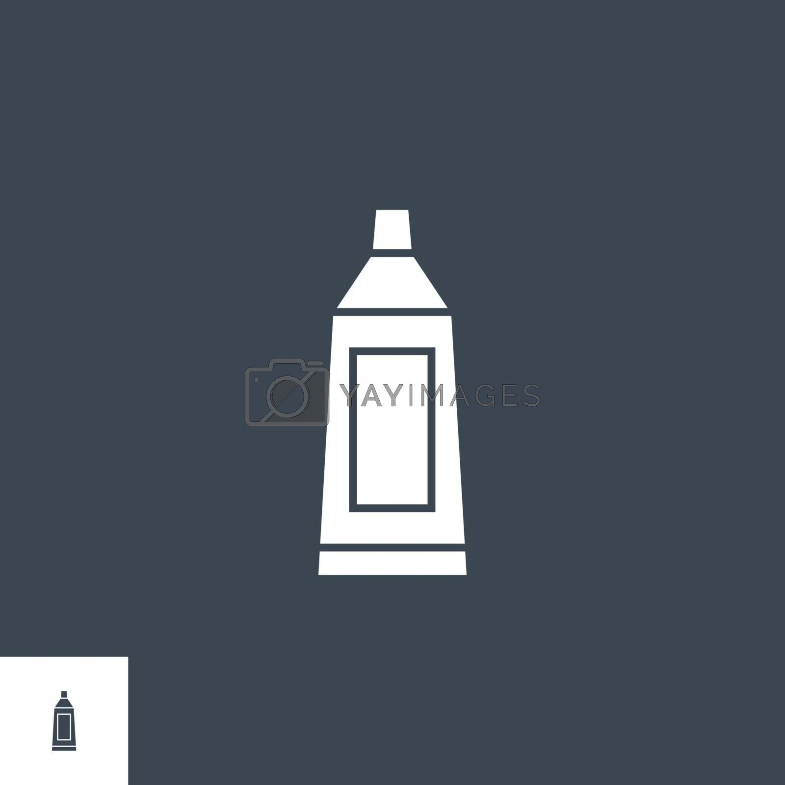 Toothpaste Tube related vector glyph icon. Isolated on black background. Vector illustration.