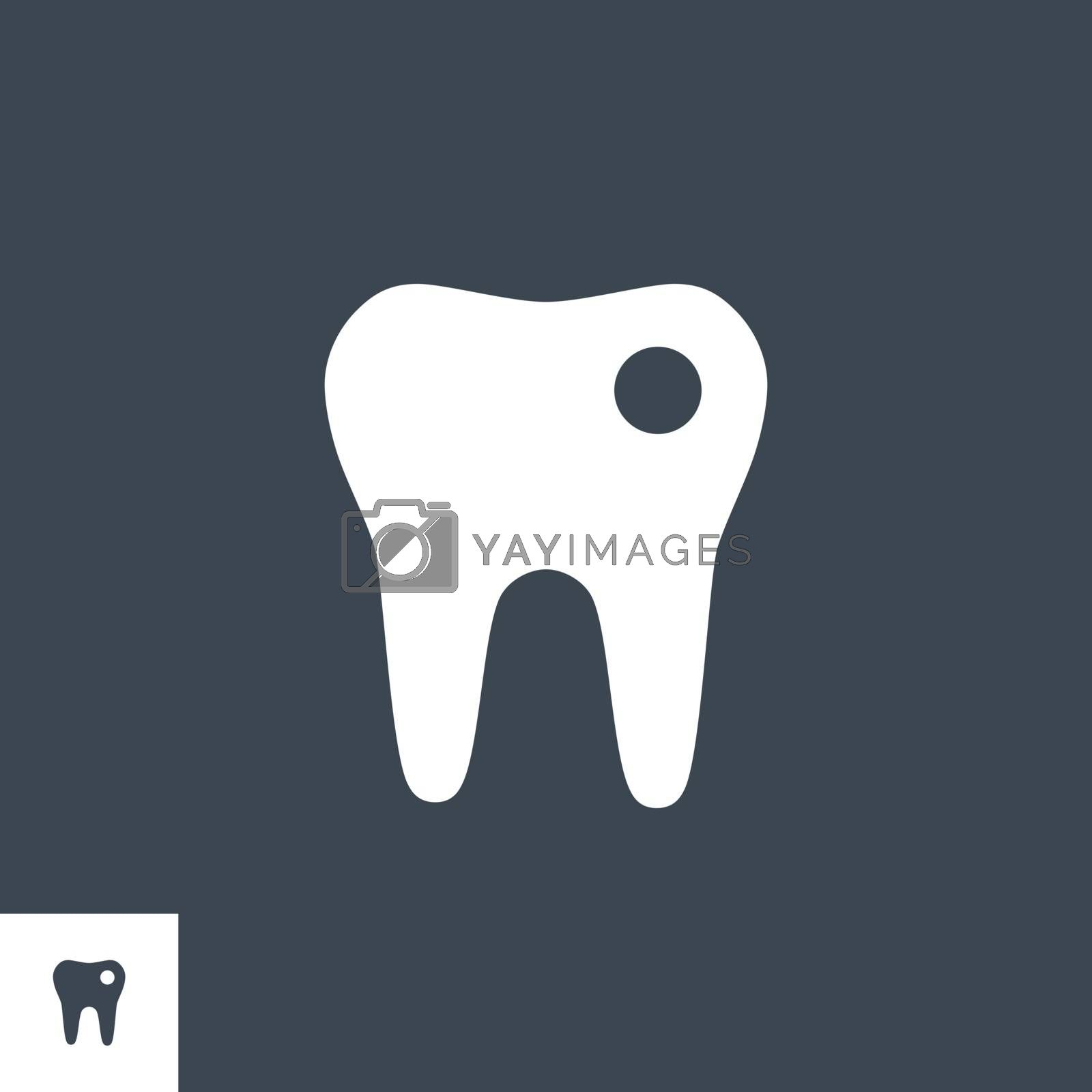 Tooth related vector glyph icon. Isolated on black background. Vector illustration.