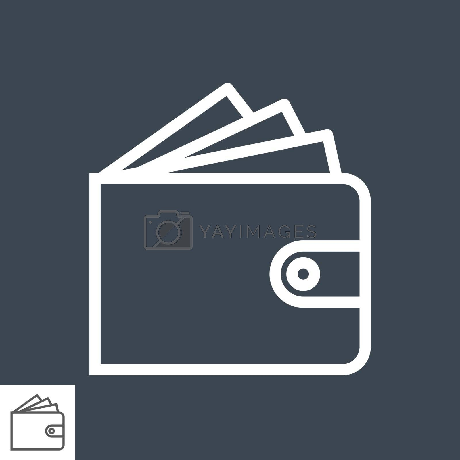 Wallet Thin Line Vector Icon. Flat icon isolated on the black background. Editable EPS file. Vector illustration.