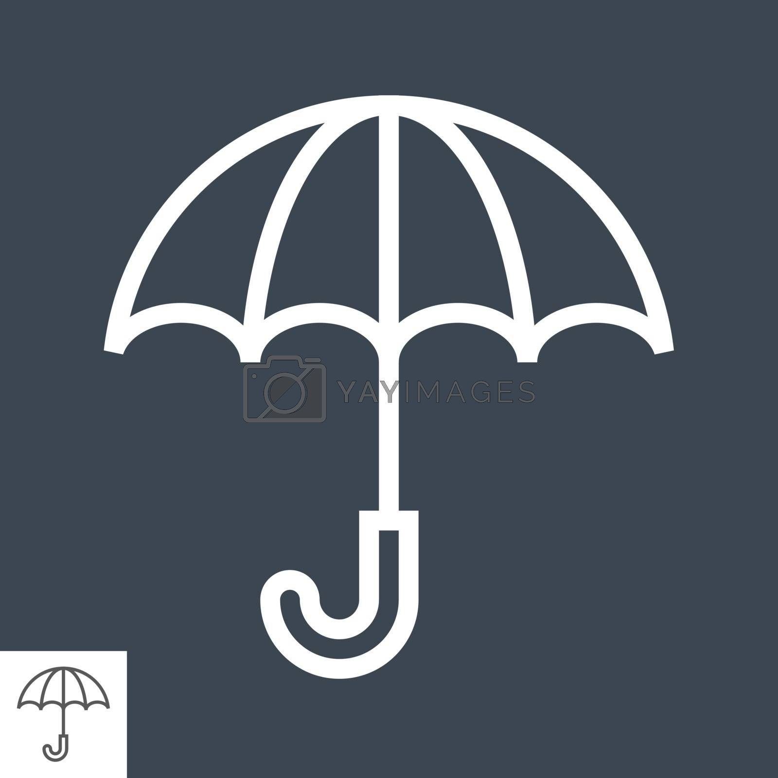 Umbrella Icon. Thin Line Vector Illustration. Adjust stroke weight - Expand to any Size - Easy Change Colour - Editable Stroke - Pixel Perfect