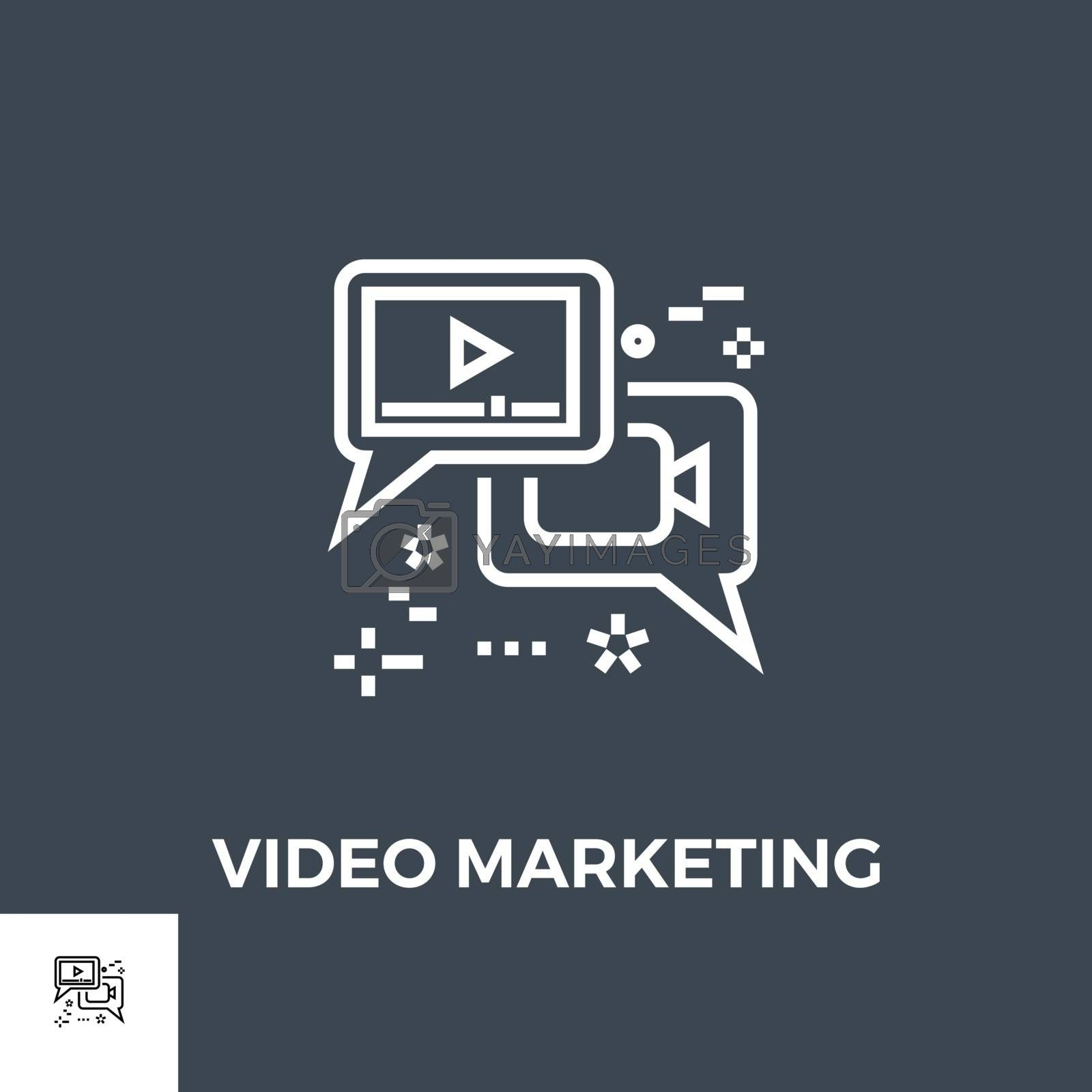 Video Marketing Related Vector Thin Line Icon. Isolated on Black Background. Vector Illustration.