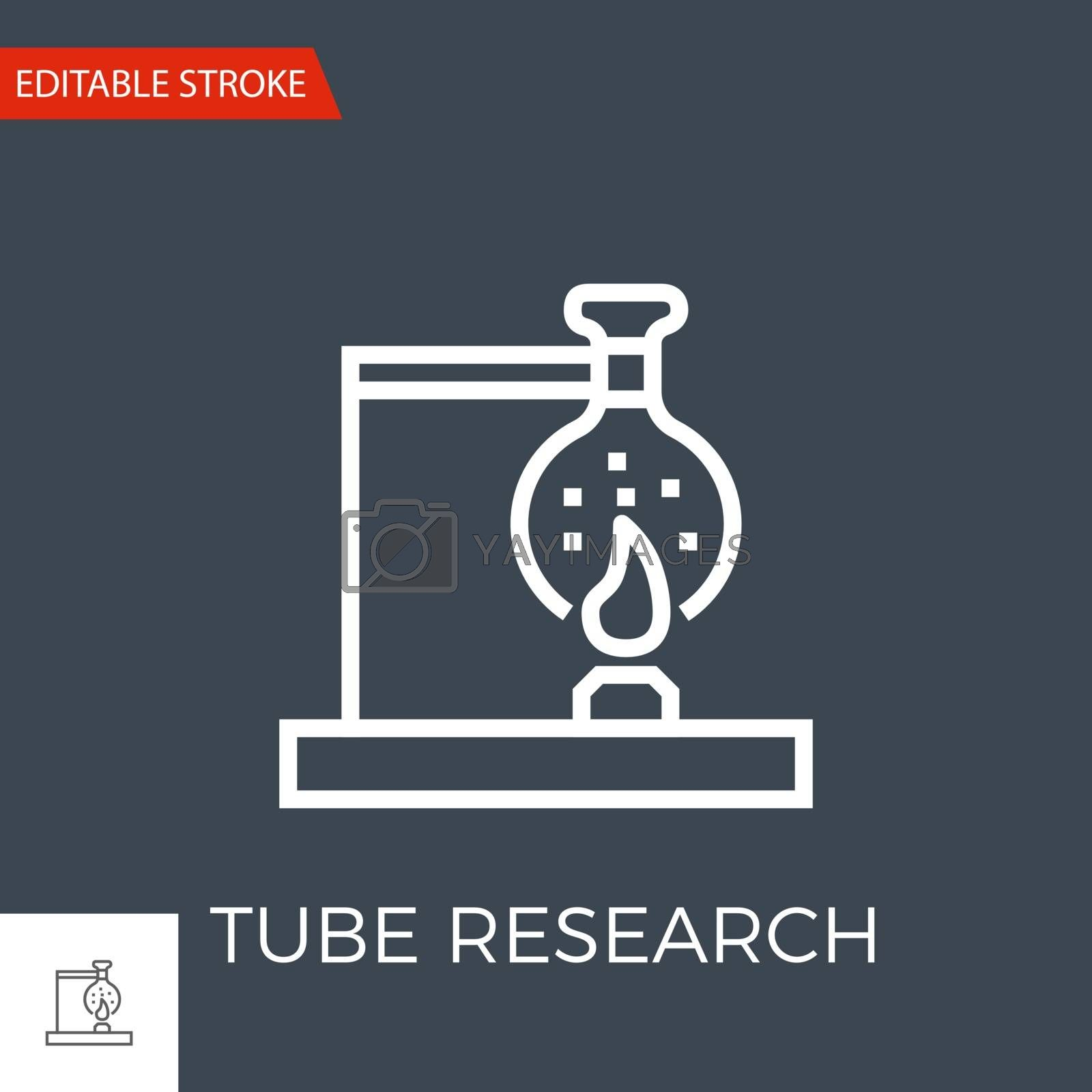 Tube Research Thin Line Vector Icon. Flat Icon Isolated on the Black Background. Editable Stroke EPS file. Vector illustration.
