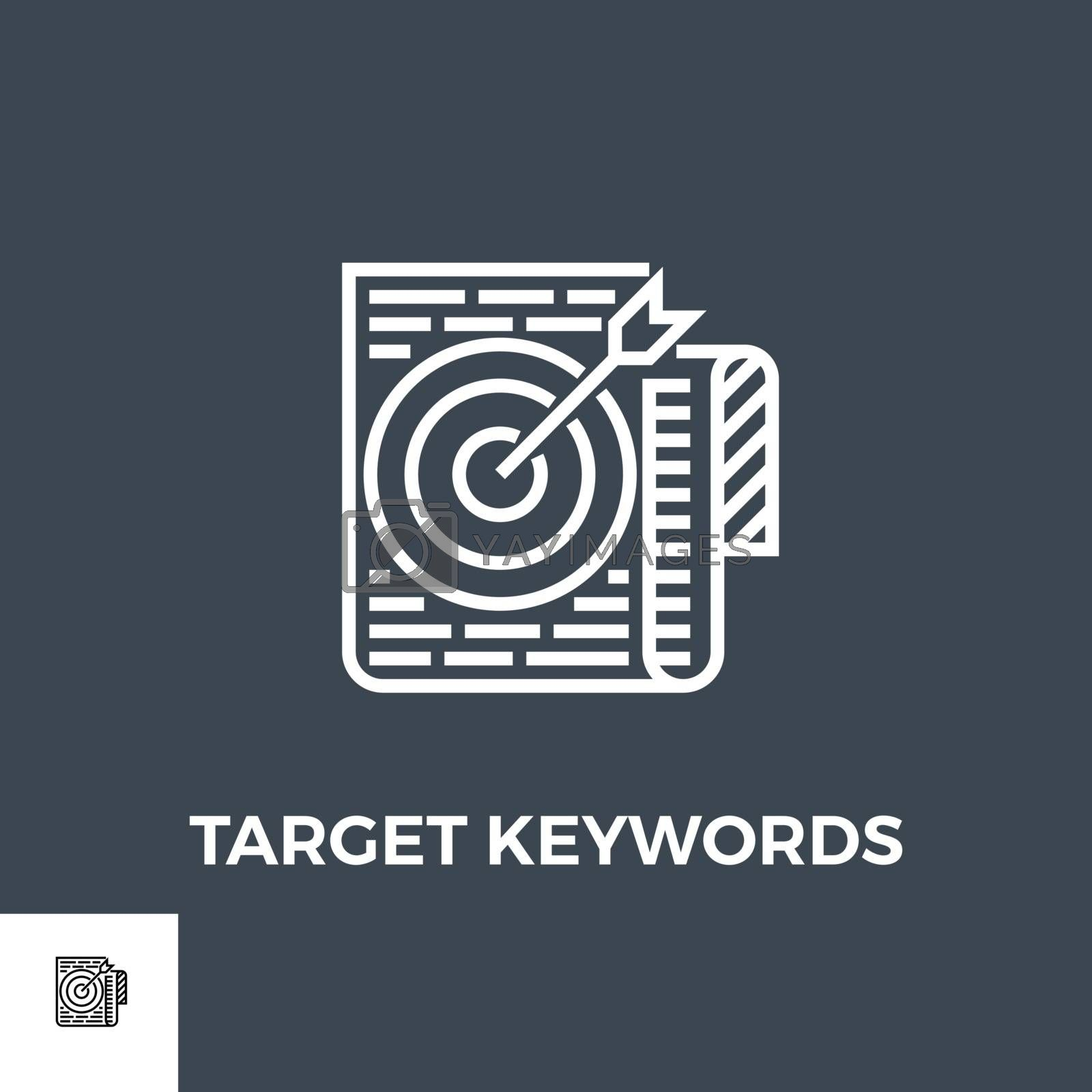 Target Keywords Related Vector Thin Line Icon. Isolated on Black Background. Vector Illustration.