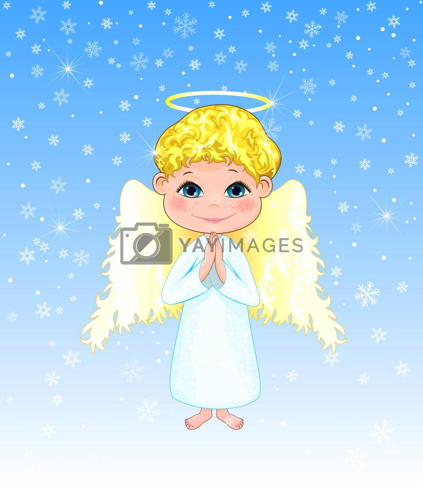 Cute boy angel on a winter background with snowflakes by liolle