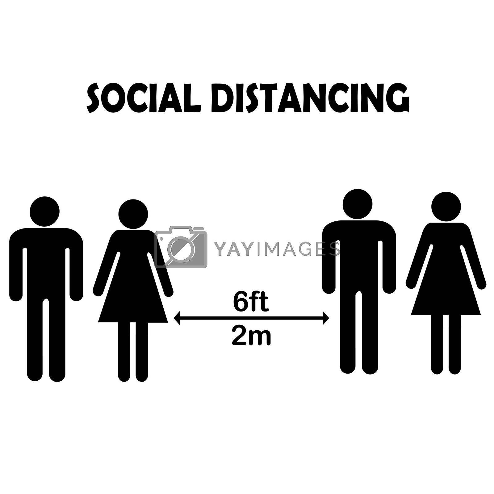 Social distancing concept with family pictograms