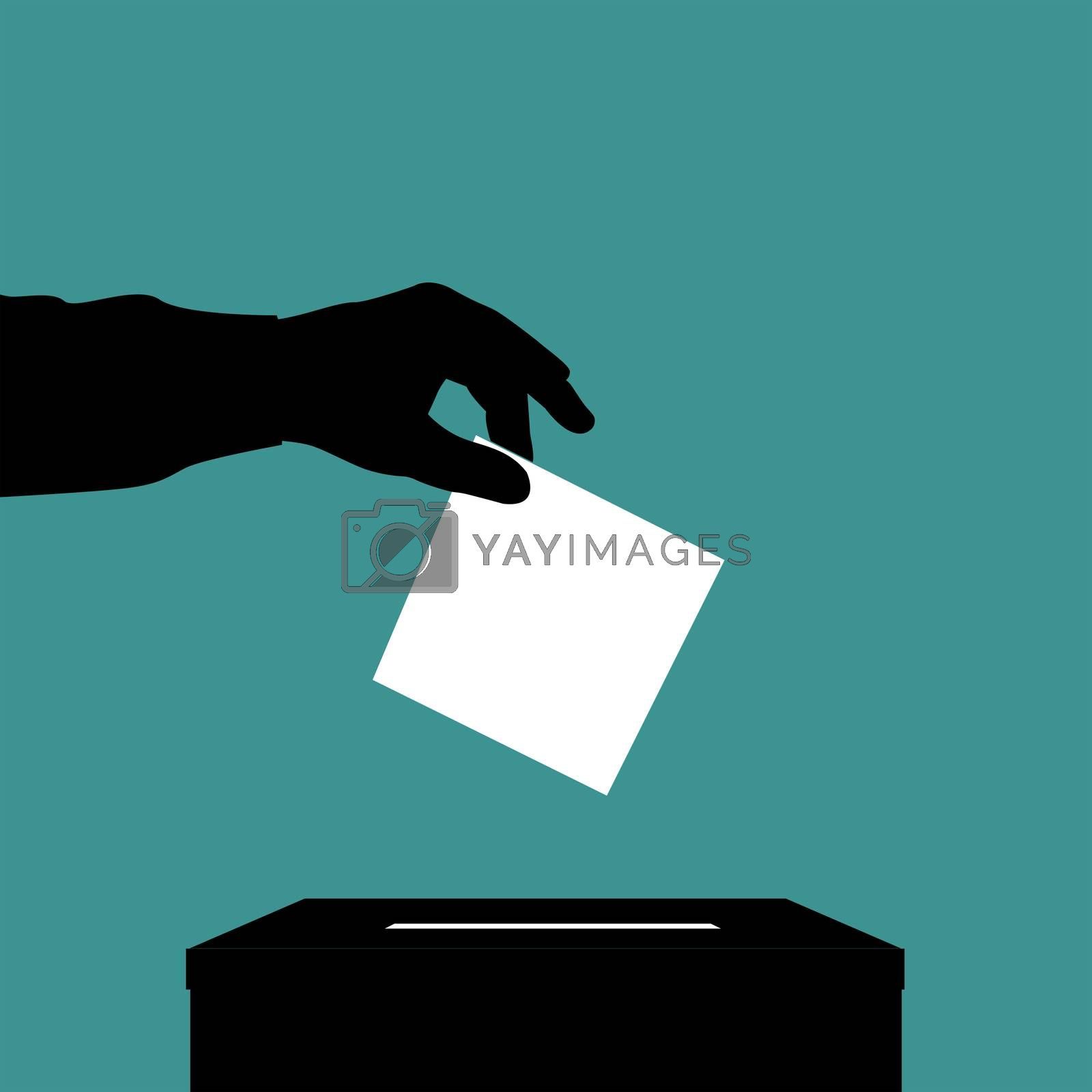 Silhouette of voter man putting ballot into voting box on green background