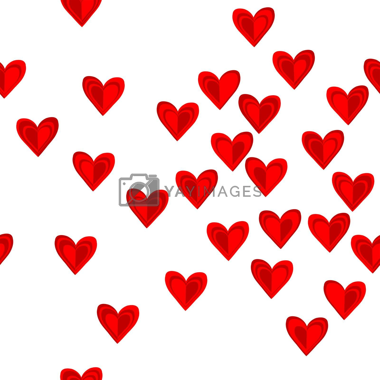 Seamless pattern with red hearts over white background