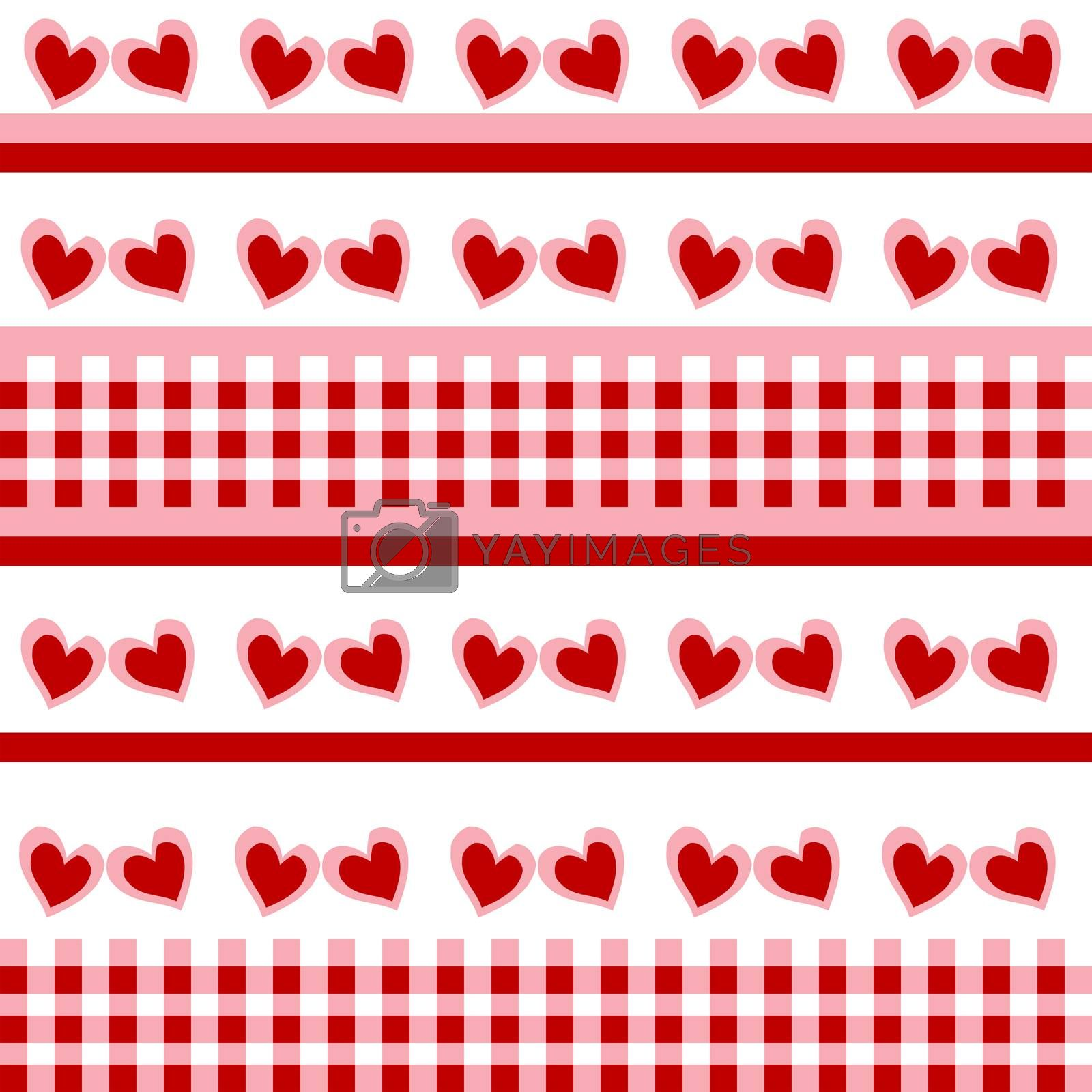 Seamless pattern with red doodle hearts