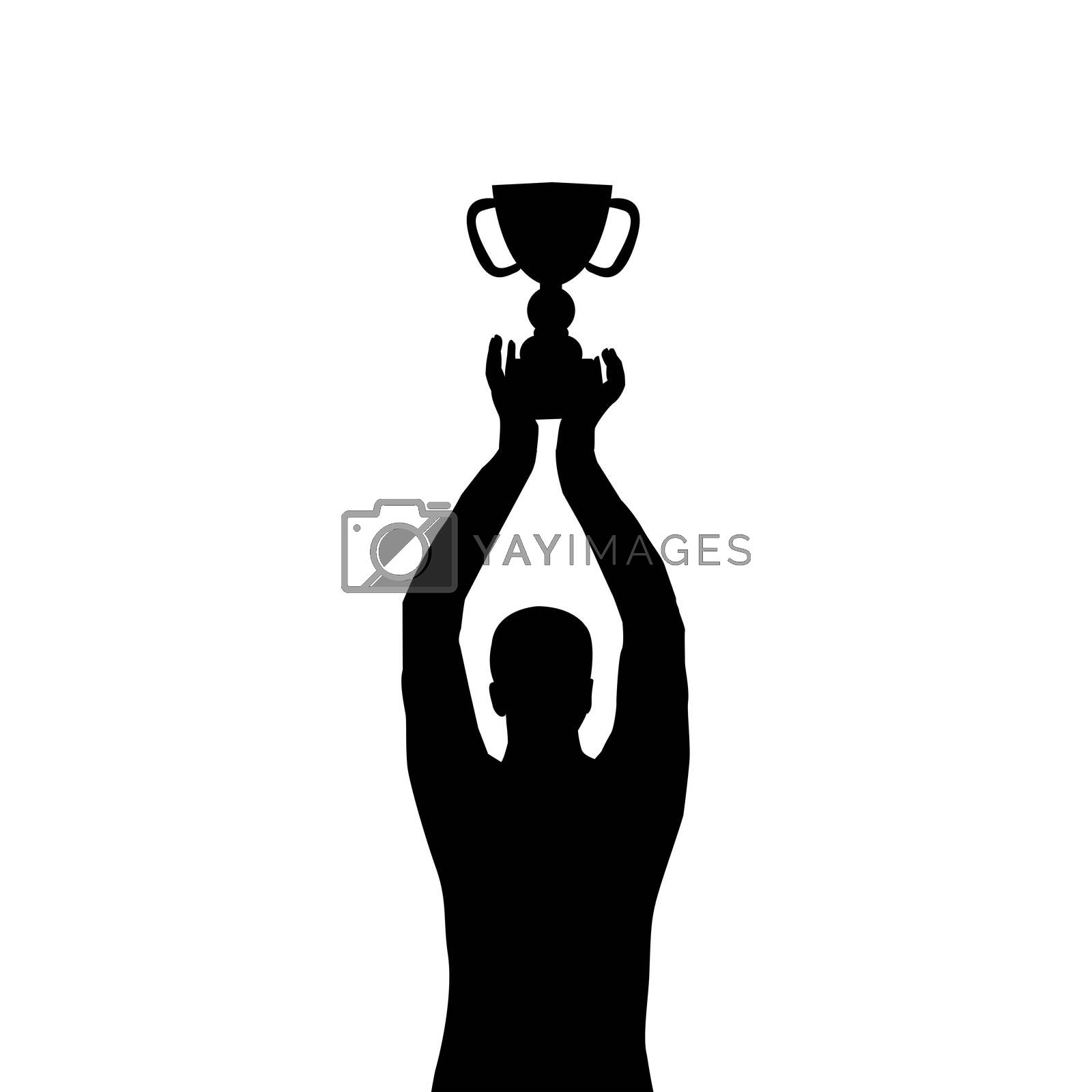 Man silhouette holding a championship trophy