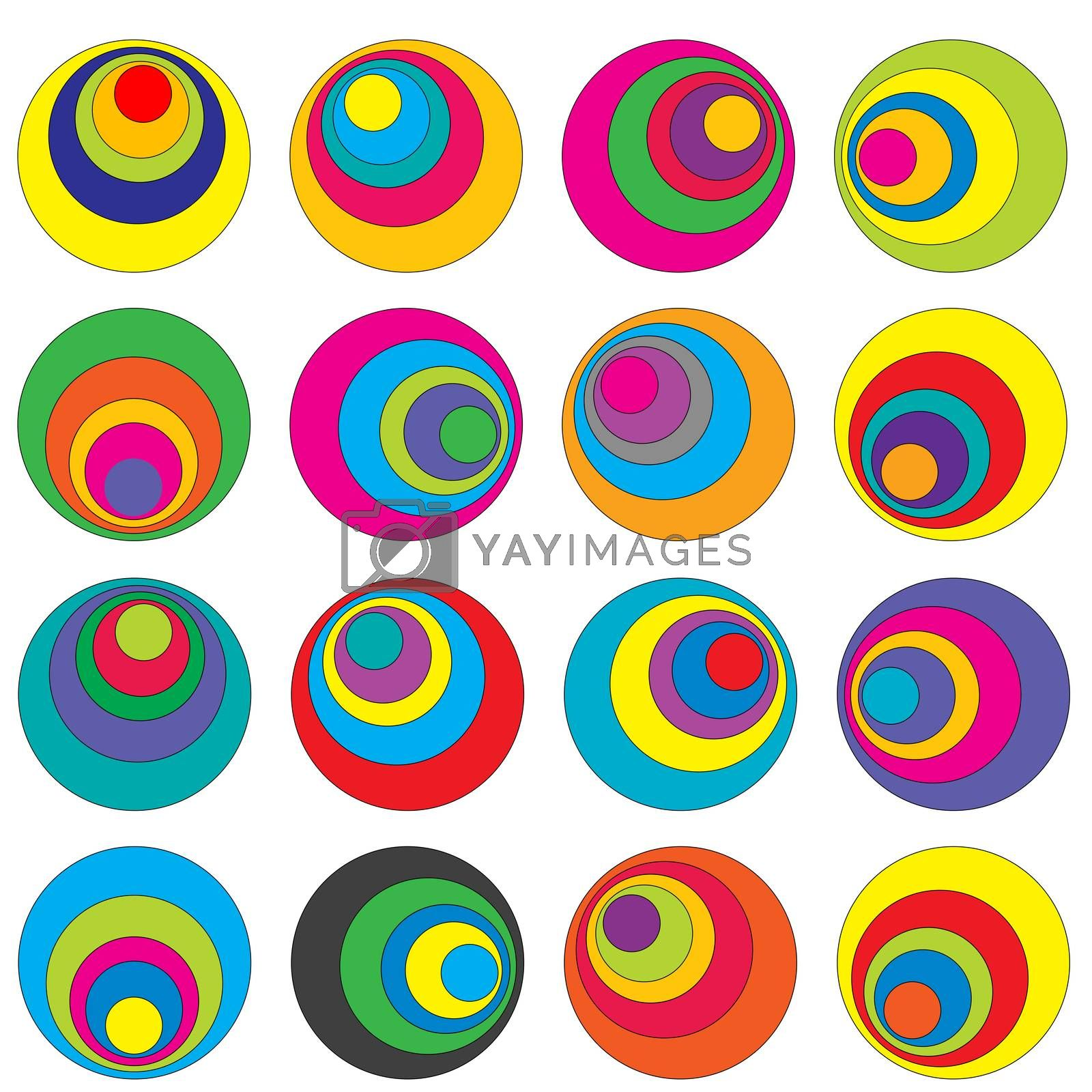 Abstract geometrical background with concentric colorful circles