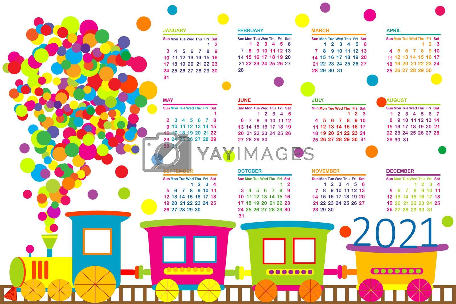 2021 calendar with train toy