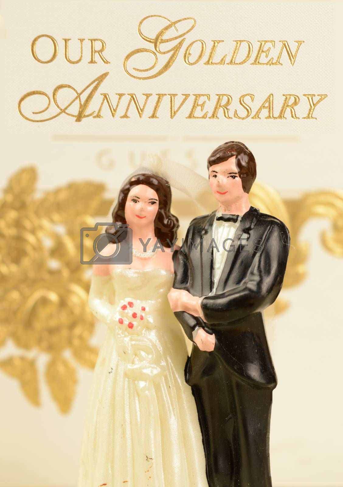 A celebratory image for the golden anniversary of a wedded couple.