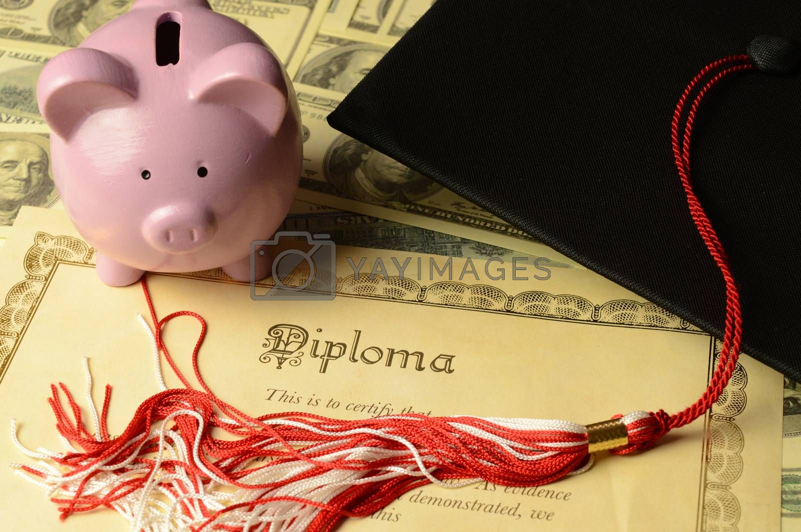 A conceptual image based on the financial aspects involved with obtaining a diploma certificate of graduation.