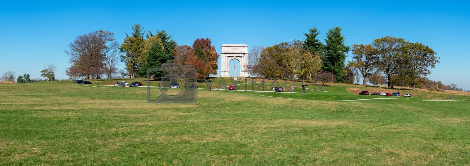 A Panoramic Shot of the National Memorial Arch and Surrounding Fields at Valley Forge National Historical Park
