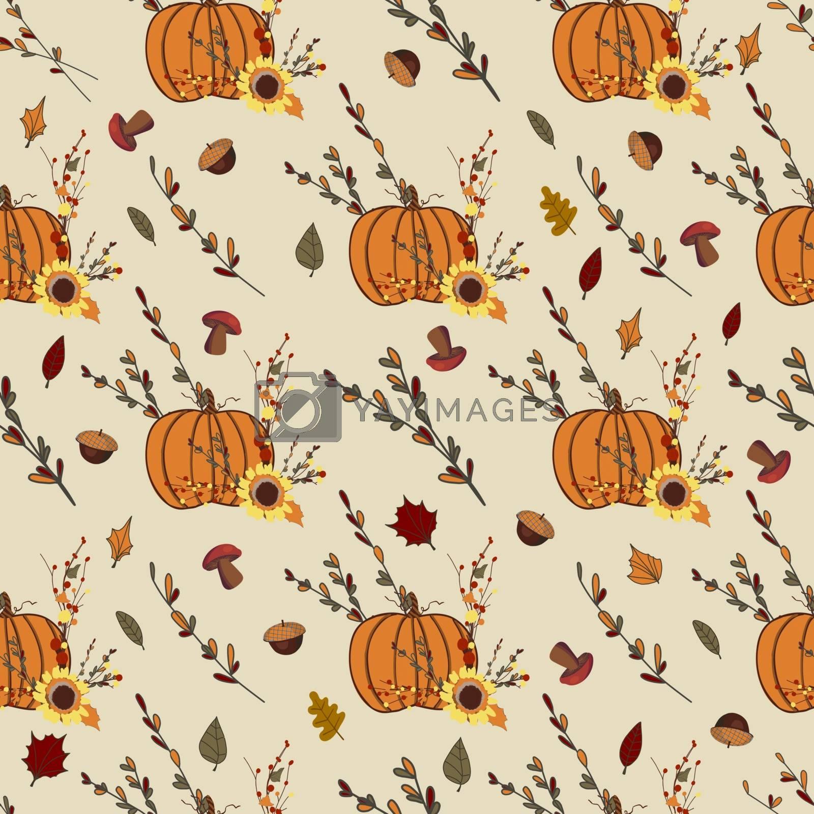 Autumn pattern with orange pumpkins. Thanksgiving design. Autumn composition.
