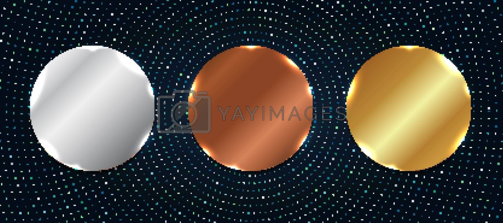 Set of abstract copper, silver, gold shiny metallic circle label or badges with particles elements on dark blue background. Vector illustration