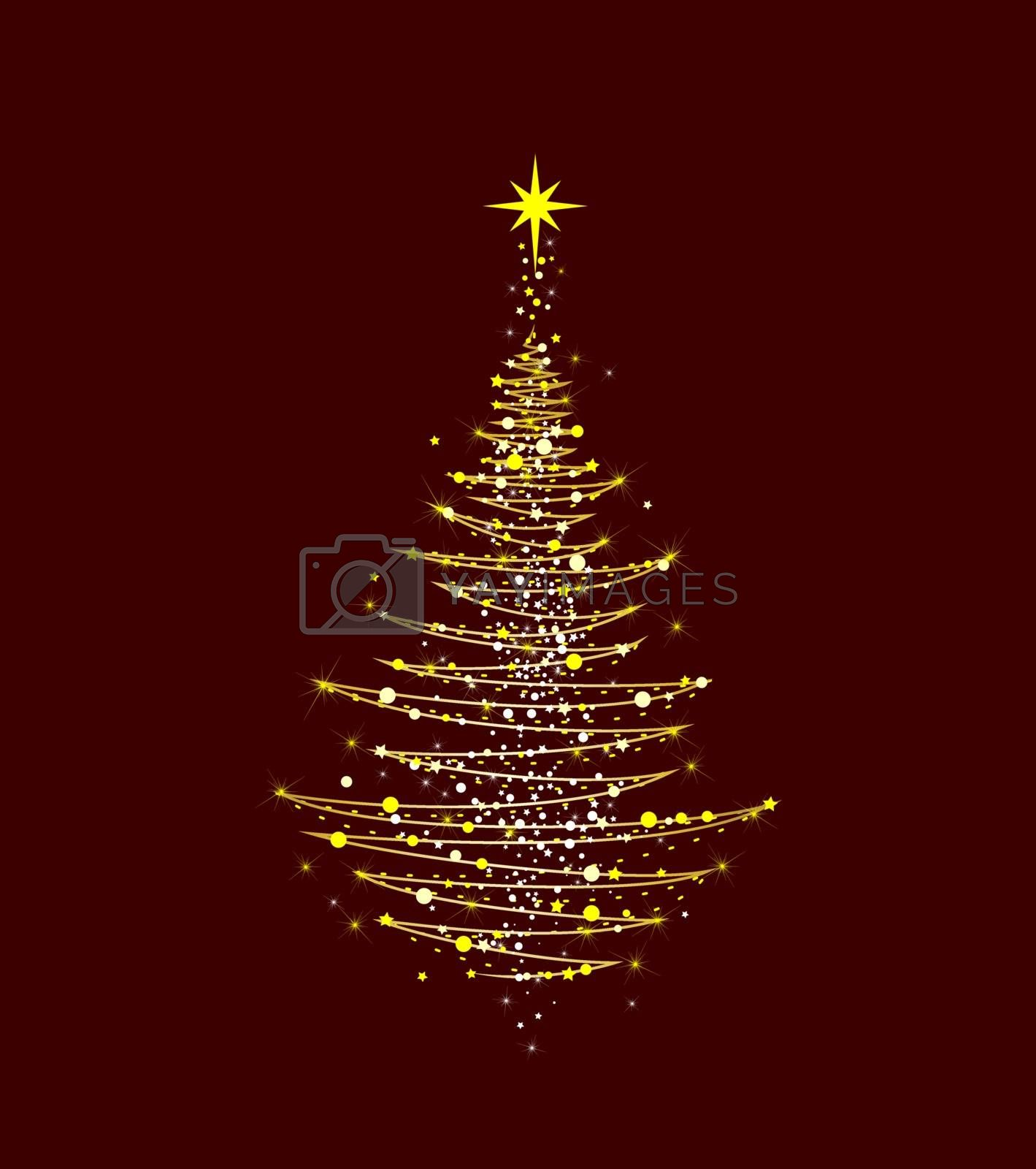 Christmas tree shining golden by liolle
