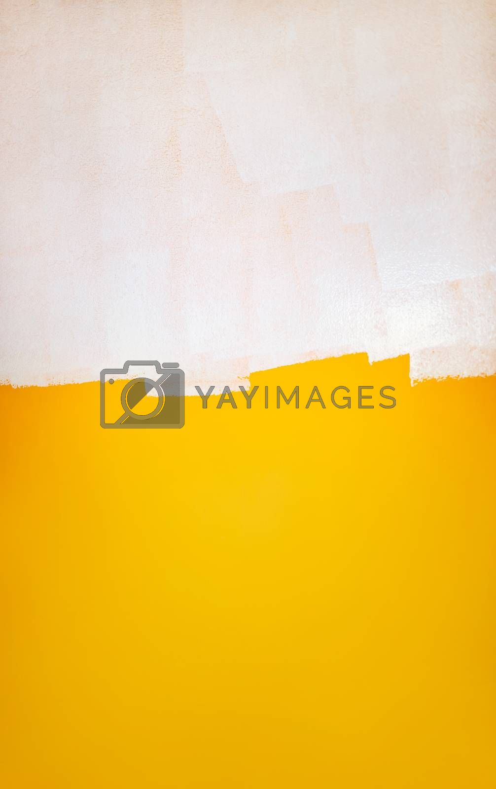 Beautiful Yellow-White Abstract Background. White Brush Strokes on the Yellow Wall. Modern Art. Redesign Concept.