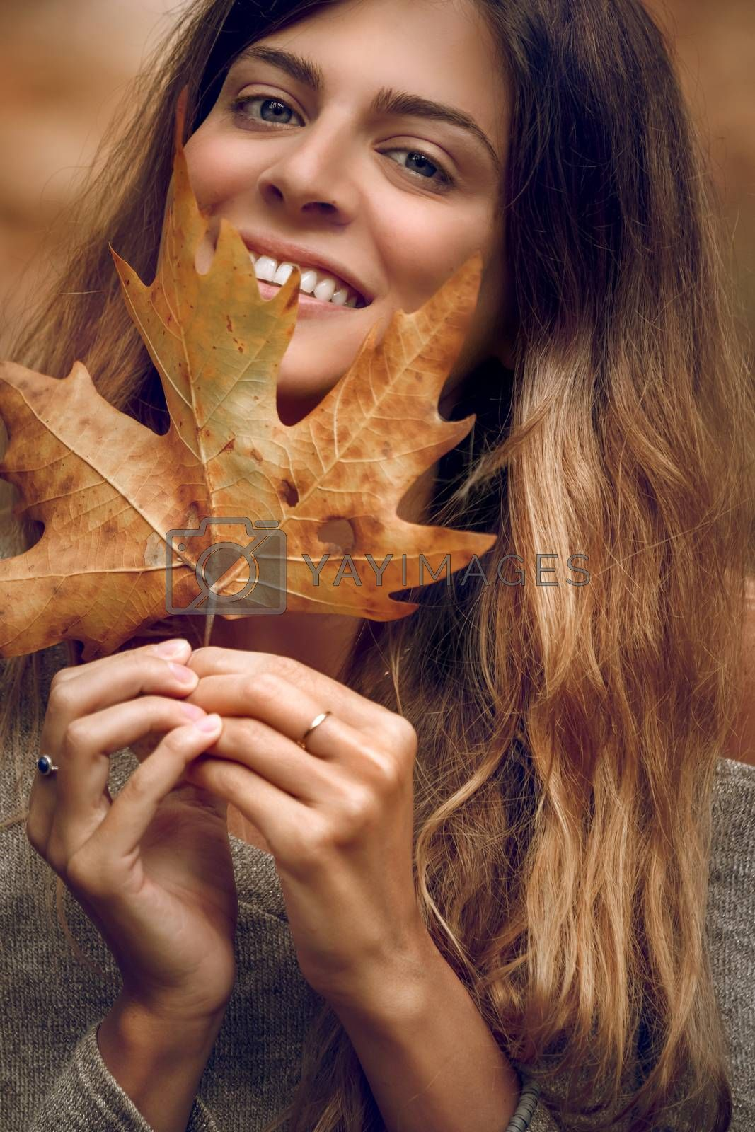Portrait of a Beautiful Girl Having Fun in Autumn Forest. Holding Dry Maple Leaf. Beauty of Fall Season