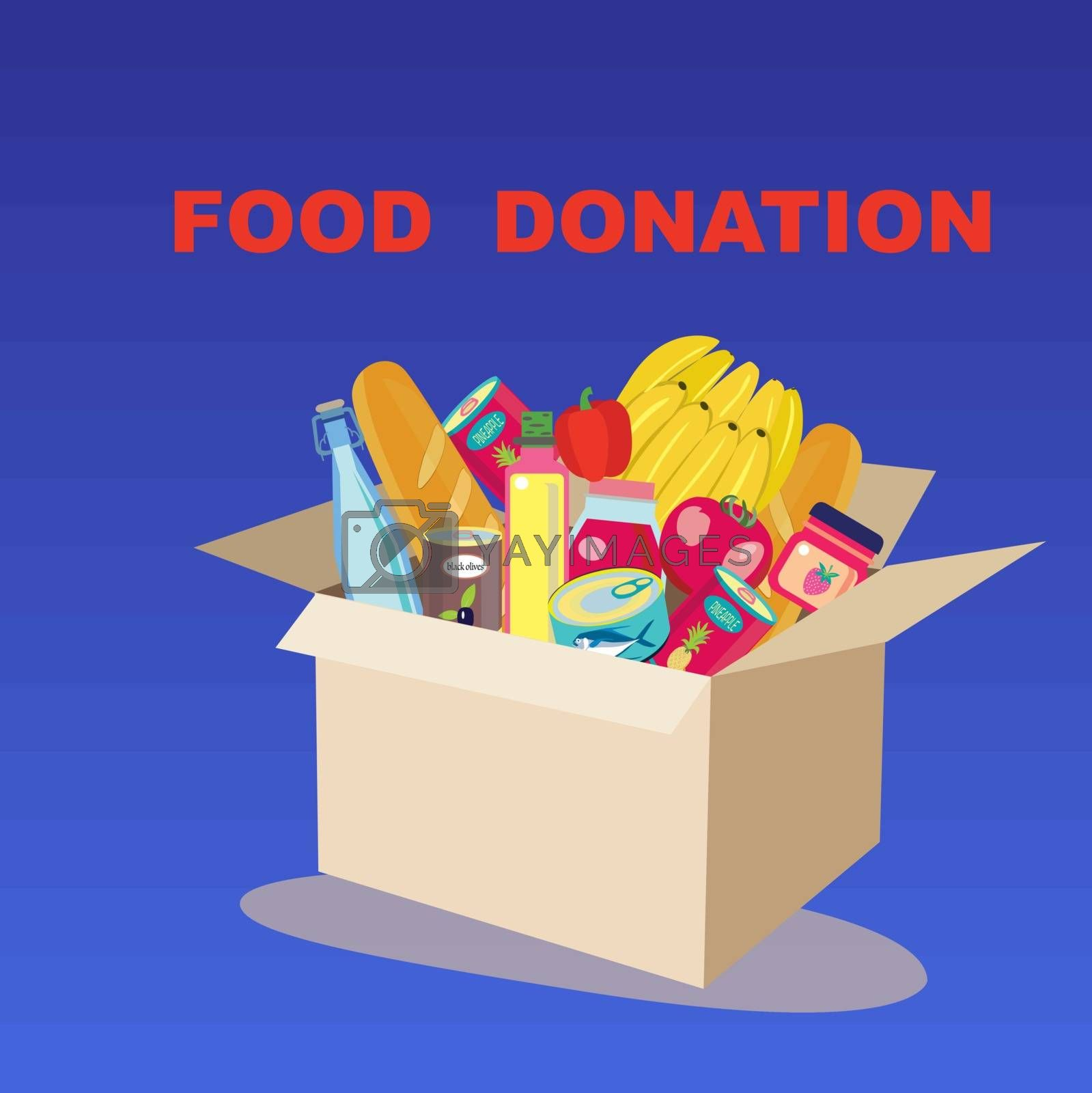Food Donation Box banner. Cardboard box full of charity donation box with food, humanitarian support. Flat vector illustration.