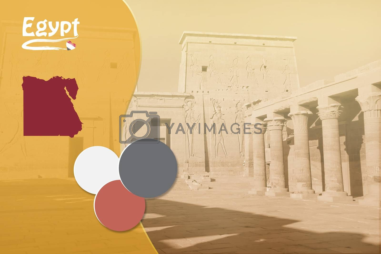 Travel template with Egyptian symbols and Philae Temple in background ready for your use.