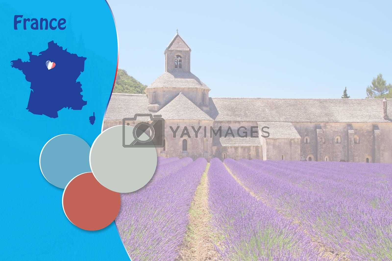 Travel template with French symbols and Sénanque Abbey in background ready for your use.