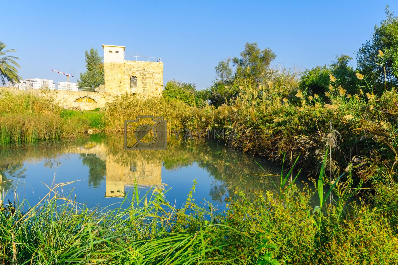 View of an Ancient Flour Mill, from Roman and crusader era, and a pond, in En Afek nature reserve, northern Israel