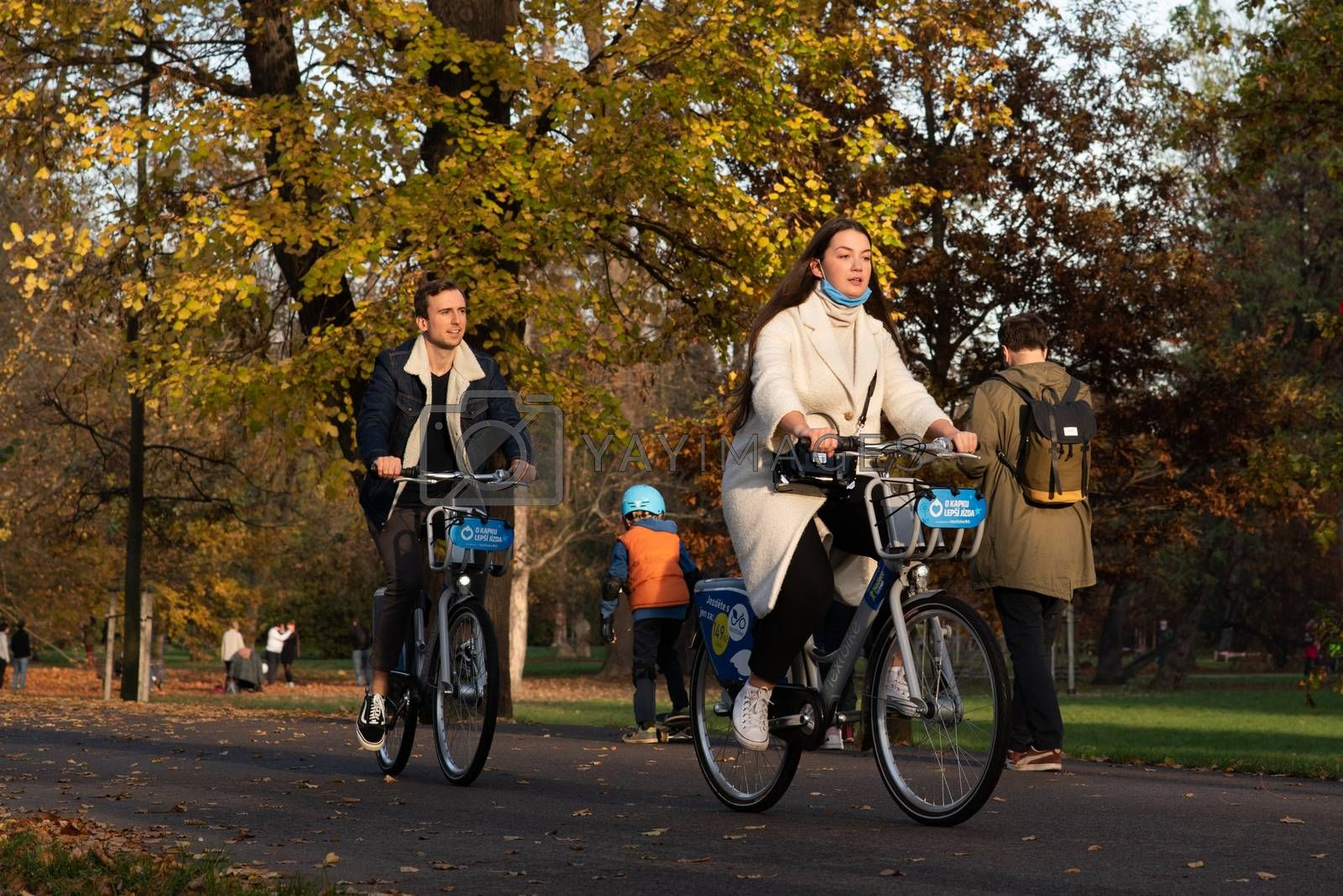 11/14/2020. Park Stromovka. Prague. Czech Republic. A couple is riding his bike at the park on a winter day.