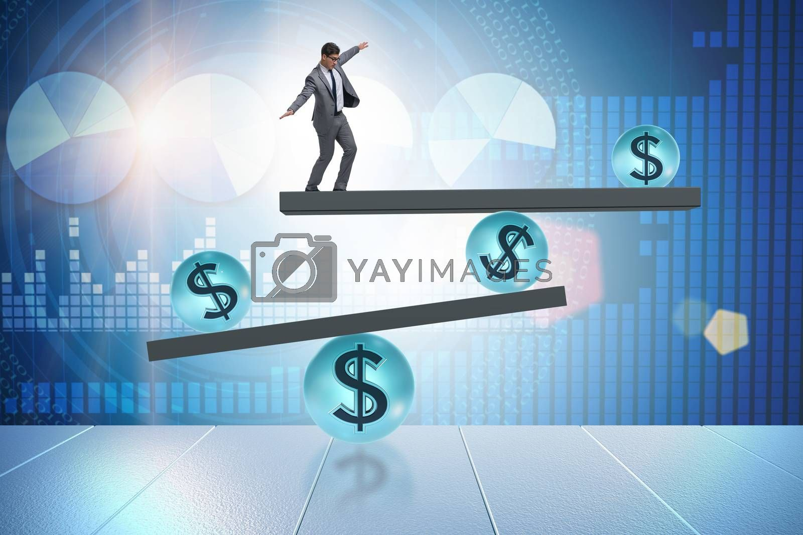 Businessman balancing in financial dollar concept