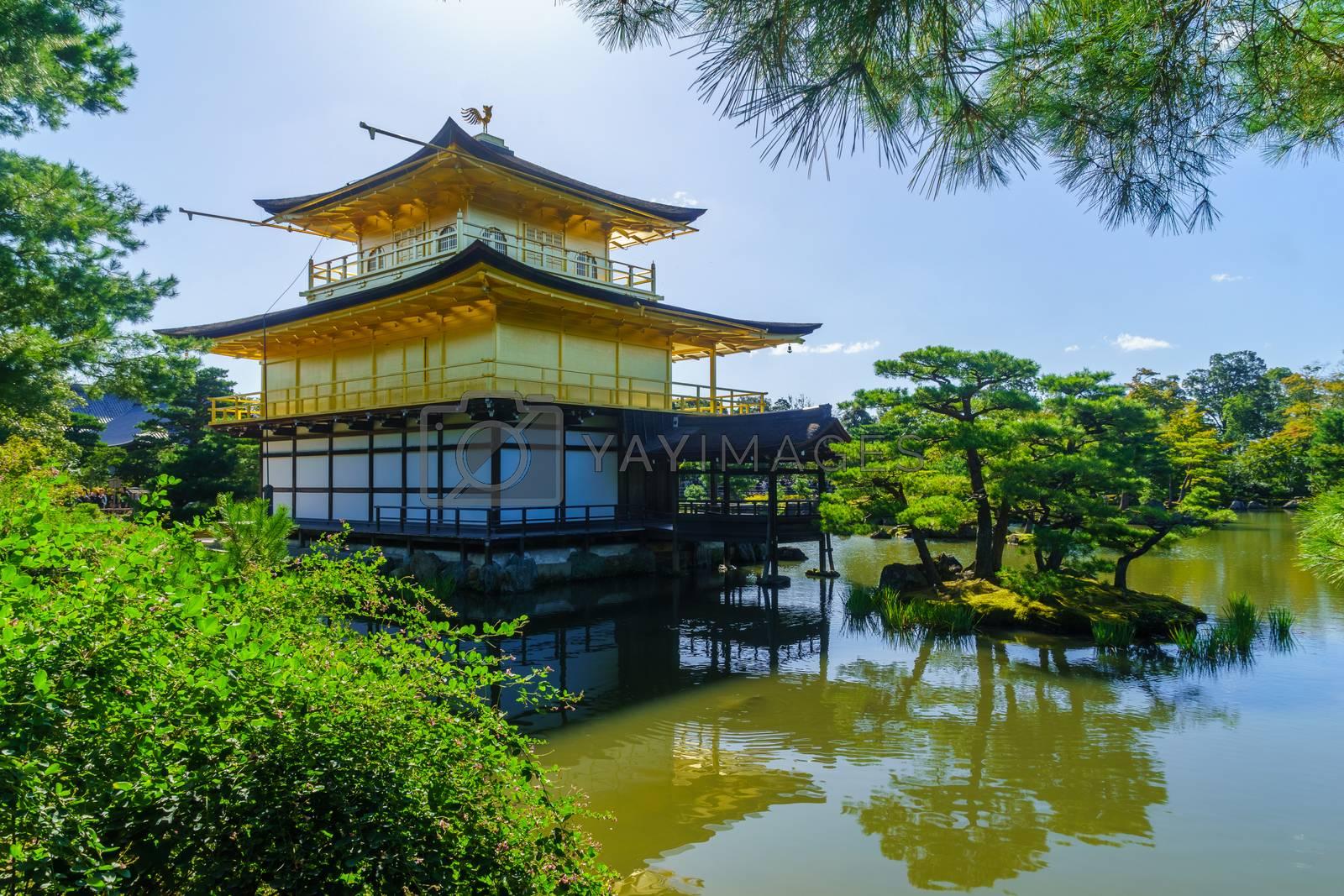 View of the shariden at Rokuon-ji Buddhist temple (the Golden Pavilion, Kinkakuji), in Kyoto, Japan