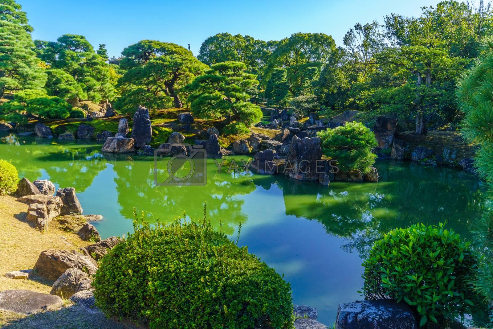 View of a garden in the Nijo Castle, in Kyoto, Japan