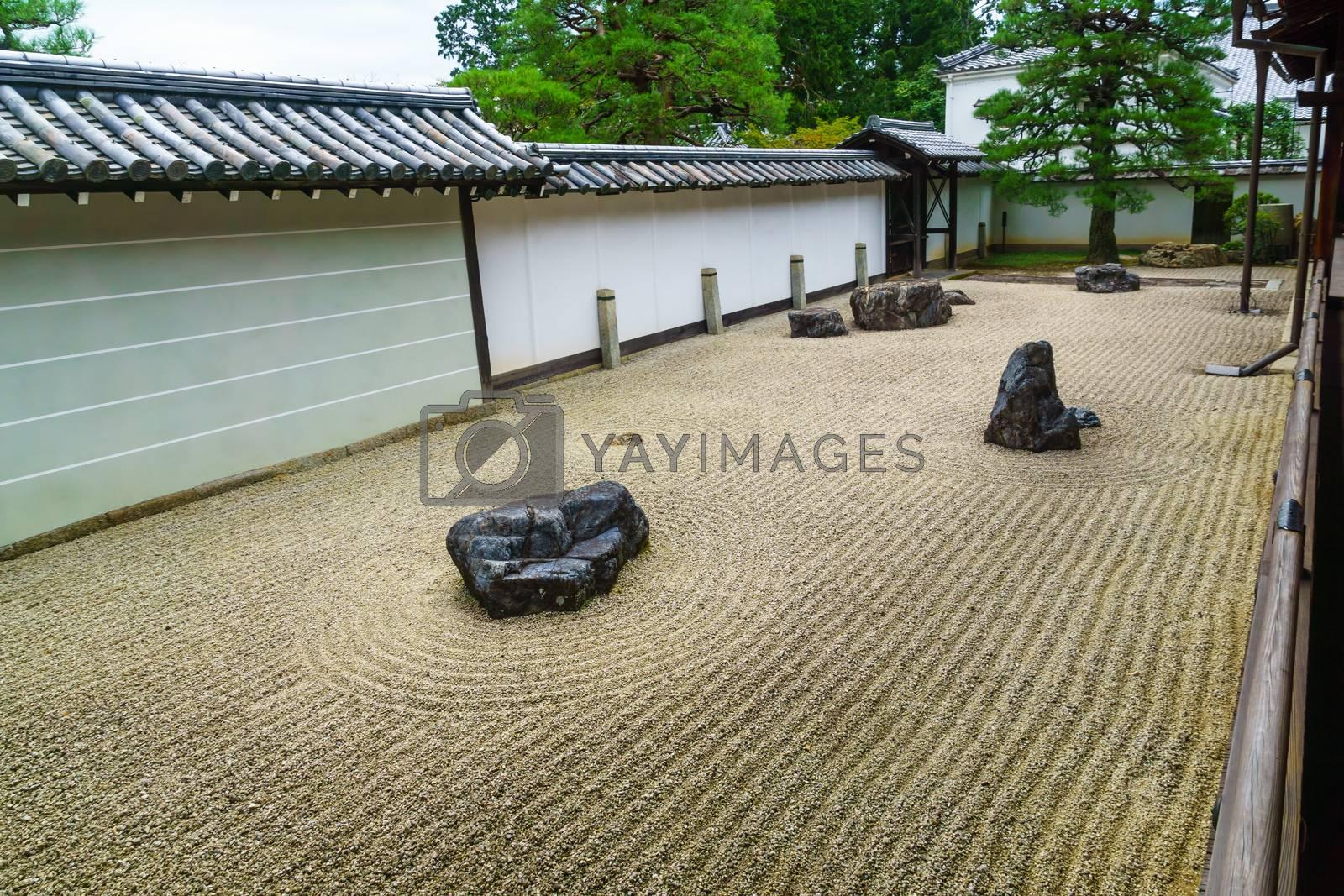 View of Japanese Rock Garden of the Nanzen-ji Temple, in Kyoto, Japan