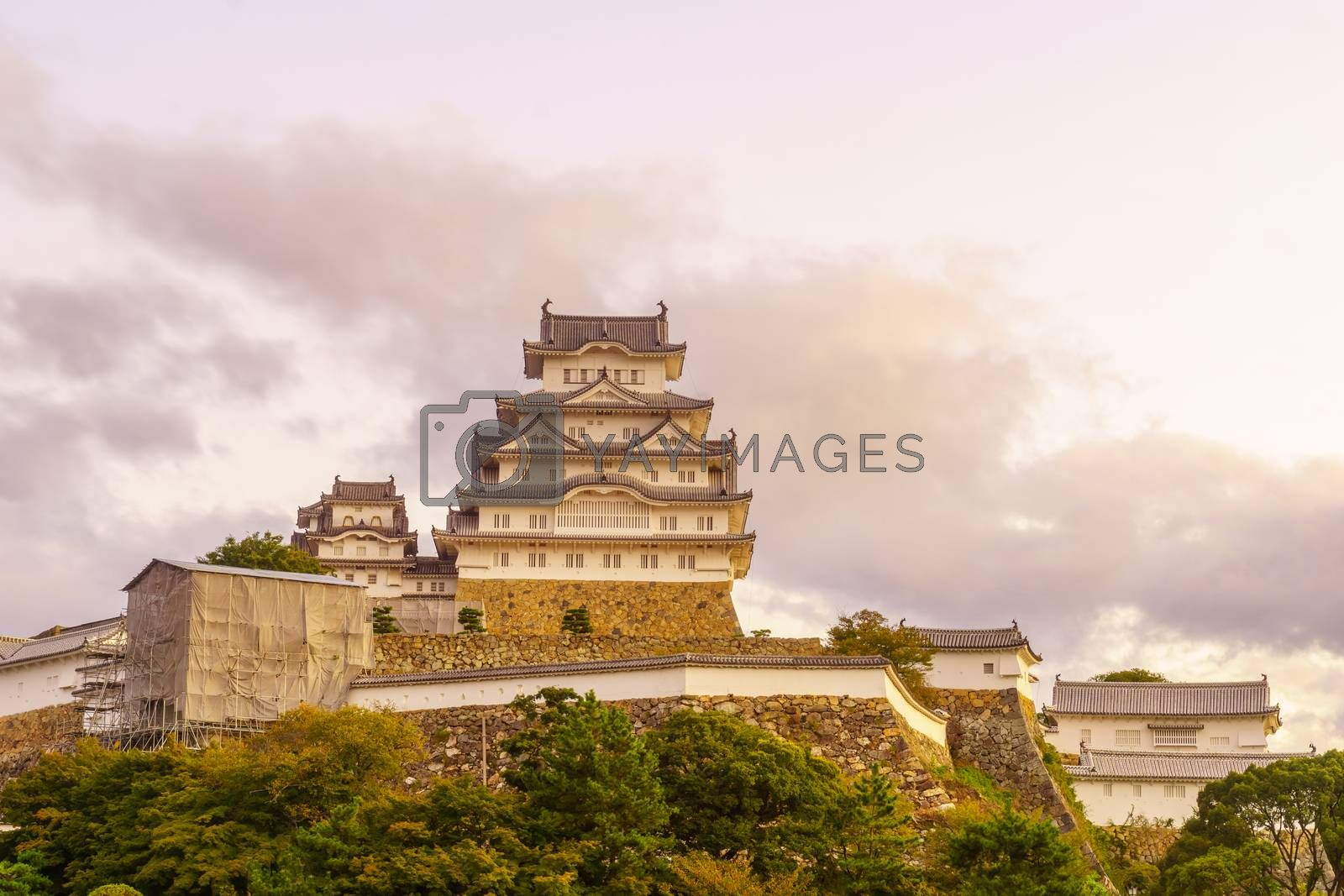 Sunrise view of the Himeji Castle, dated 1333, in the city of Himeji, Hyogo Prefecture, Japan
