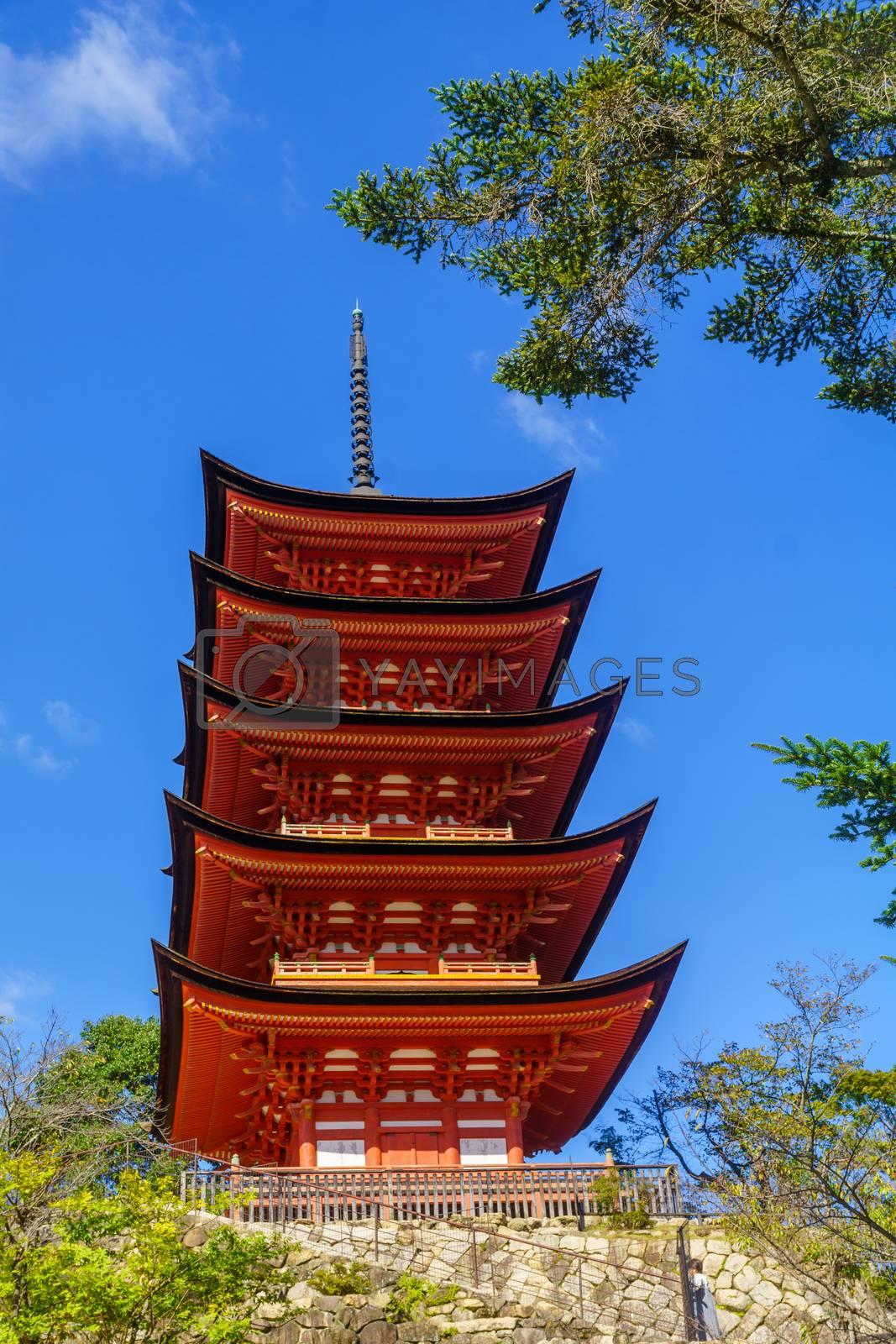 View of the Five-storied Pagoda (Gojunoto), in Miyajima (Itsukushima) Island, Japan