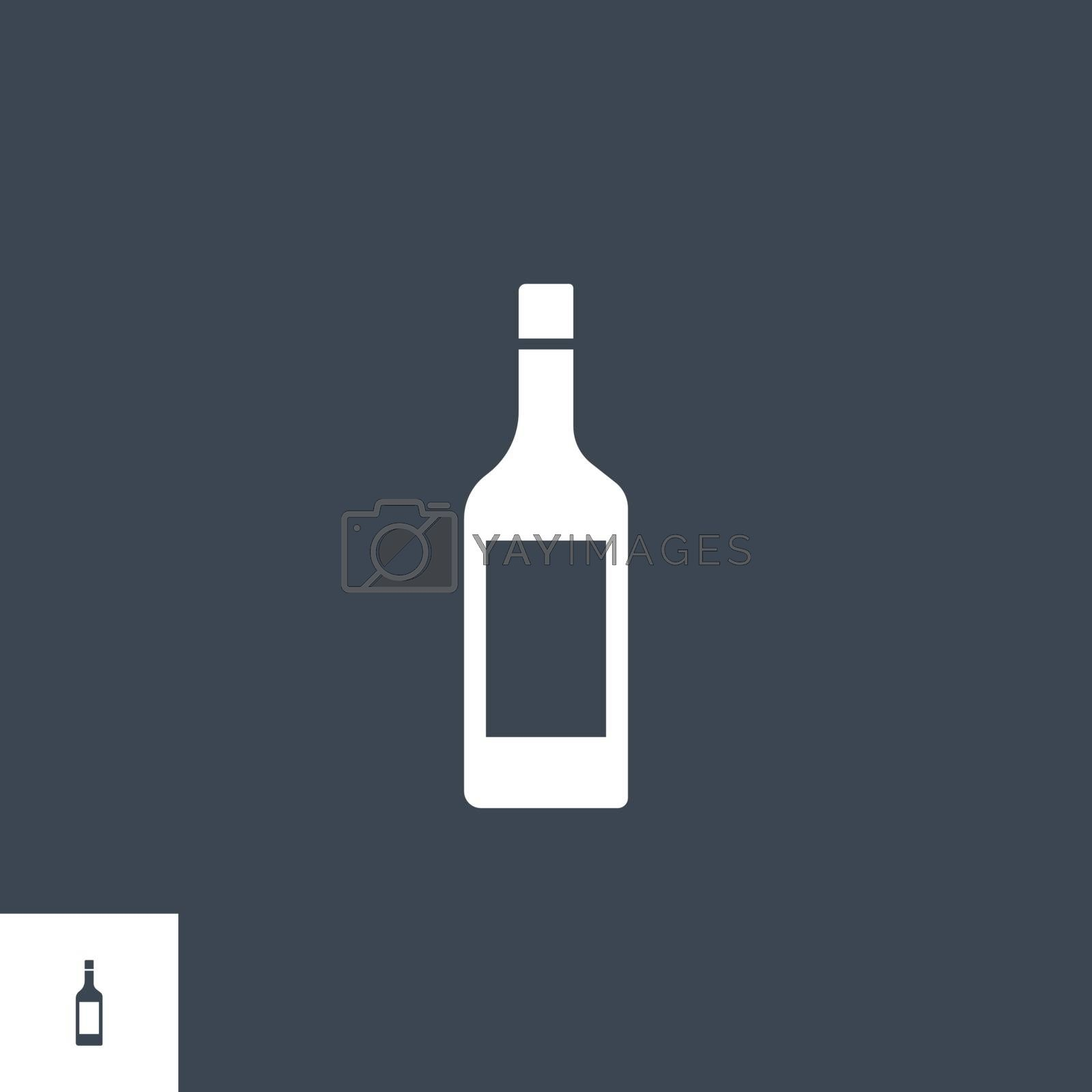 Wine bottle related vector glyph icon. Isolated on Black background. Vector illustration.