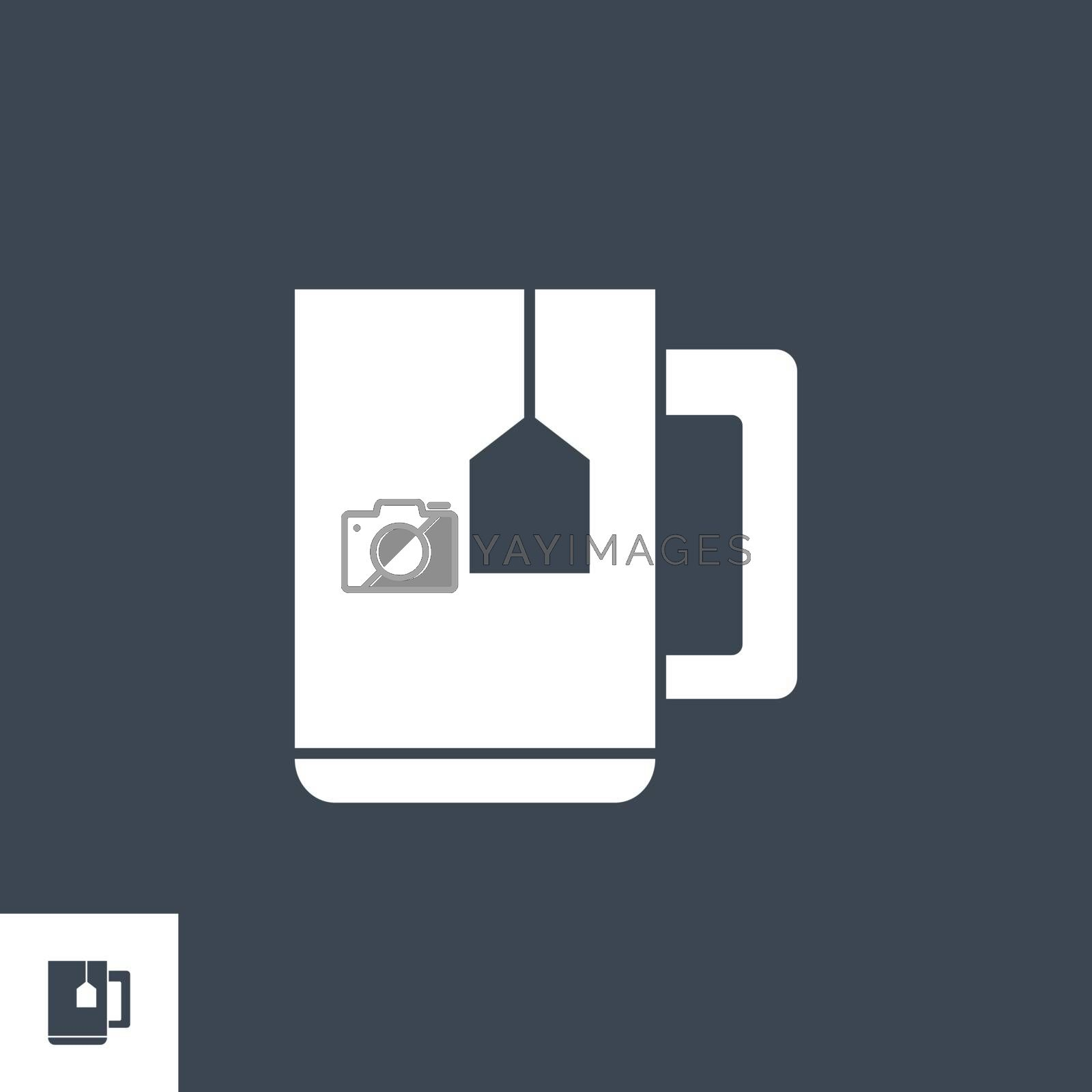 Cup of Tea related vector glyph icon. Isolated on black background. Vector illustration.