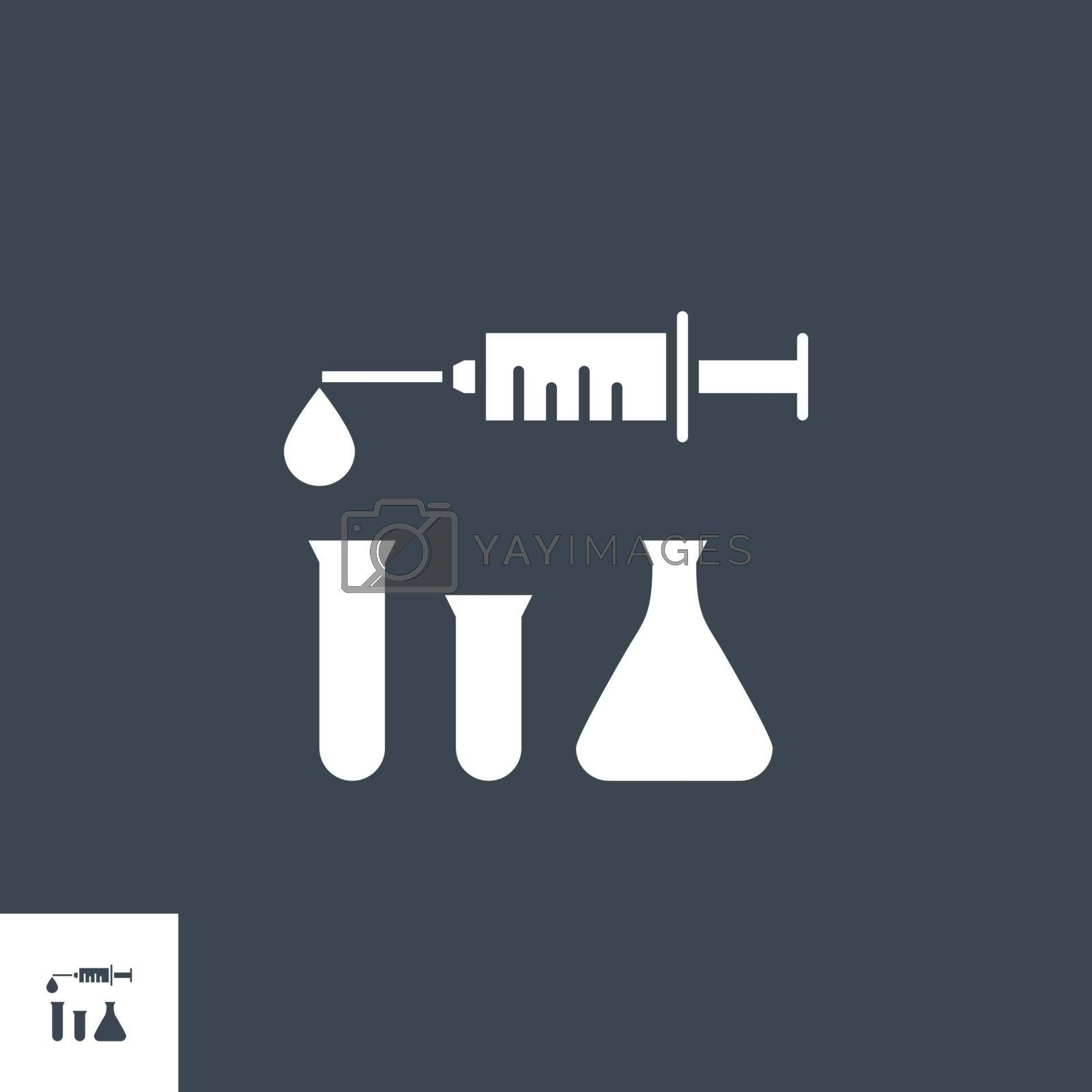 Syringe and Lab Tubes related vector glyph icon. Isolated on black background. Vector illustration.