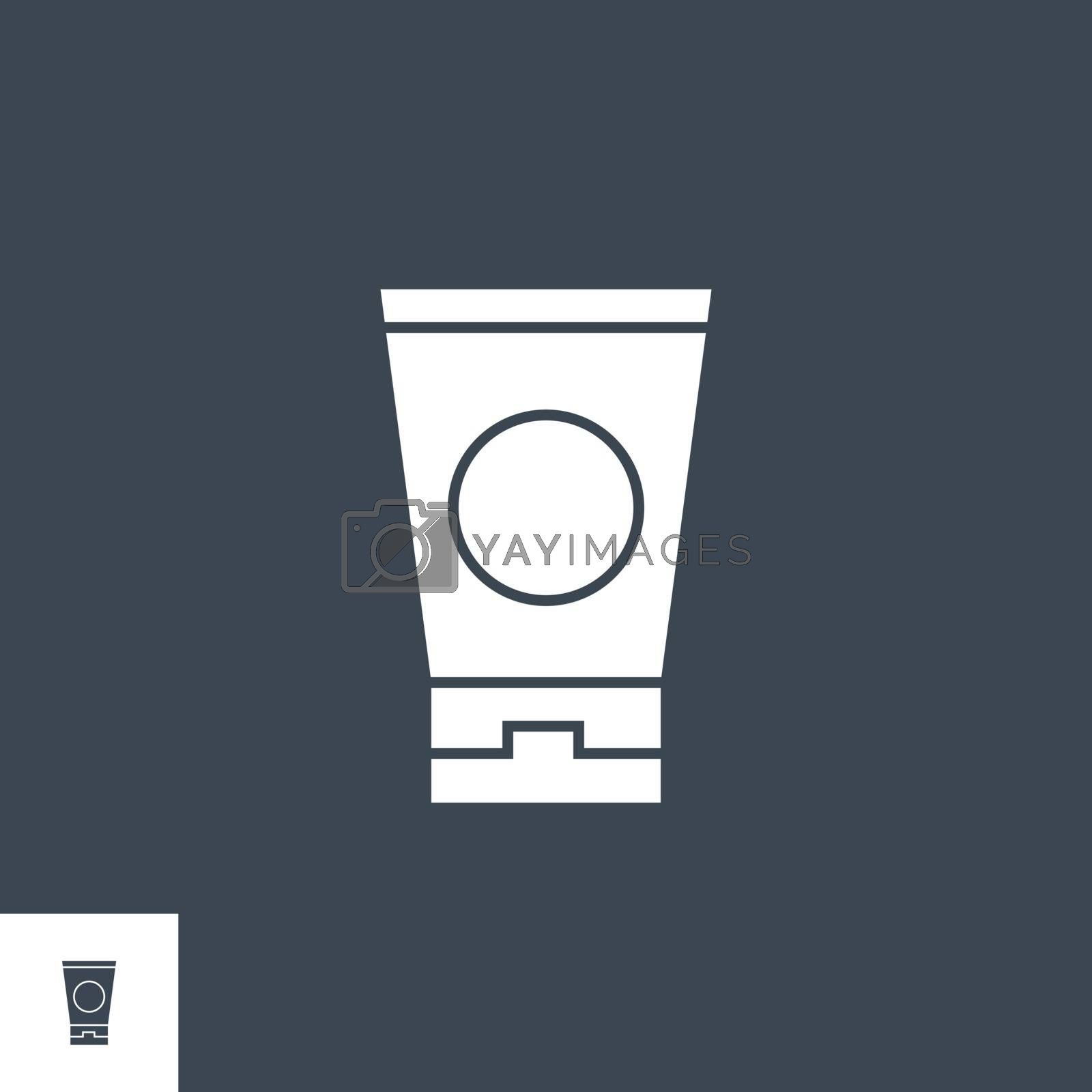 Sunscreen related vector glyph icon. Isolated on black background. Vector illustration.