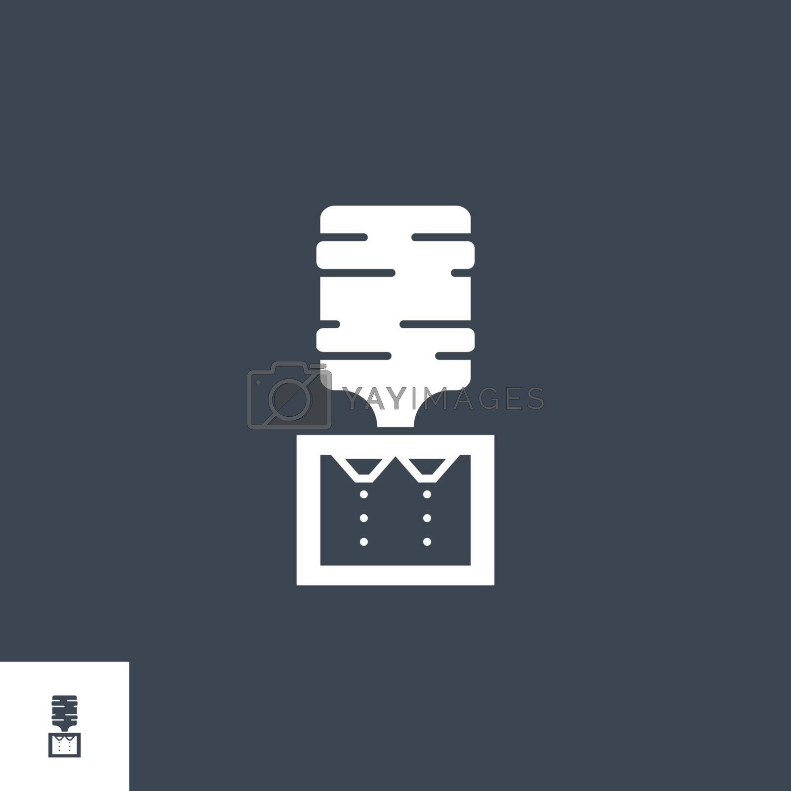 Water Cooler related vector glyph icon. Isolated on black background. Vector illustration.