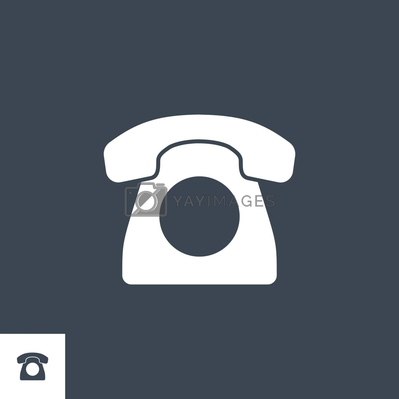 Vintage Phone related vector glyph icon. Isolated on black background. Vector illustration.