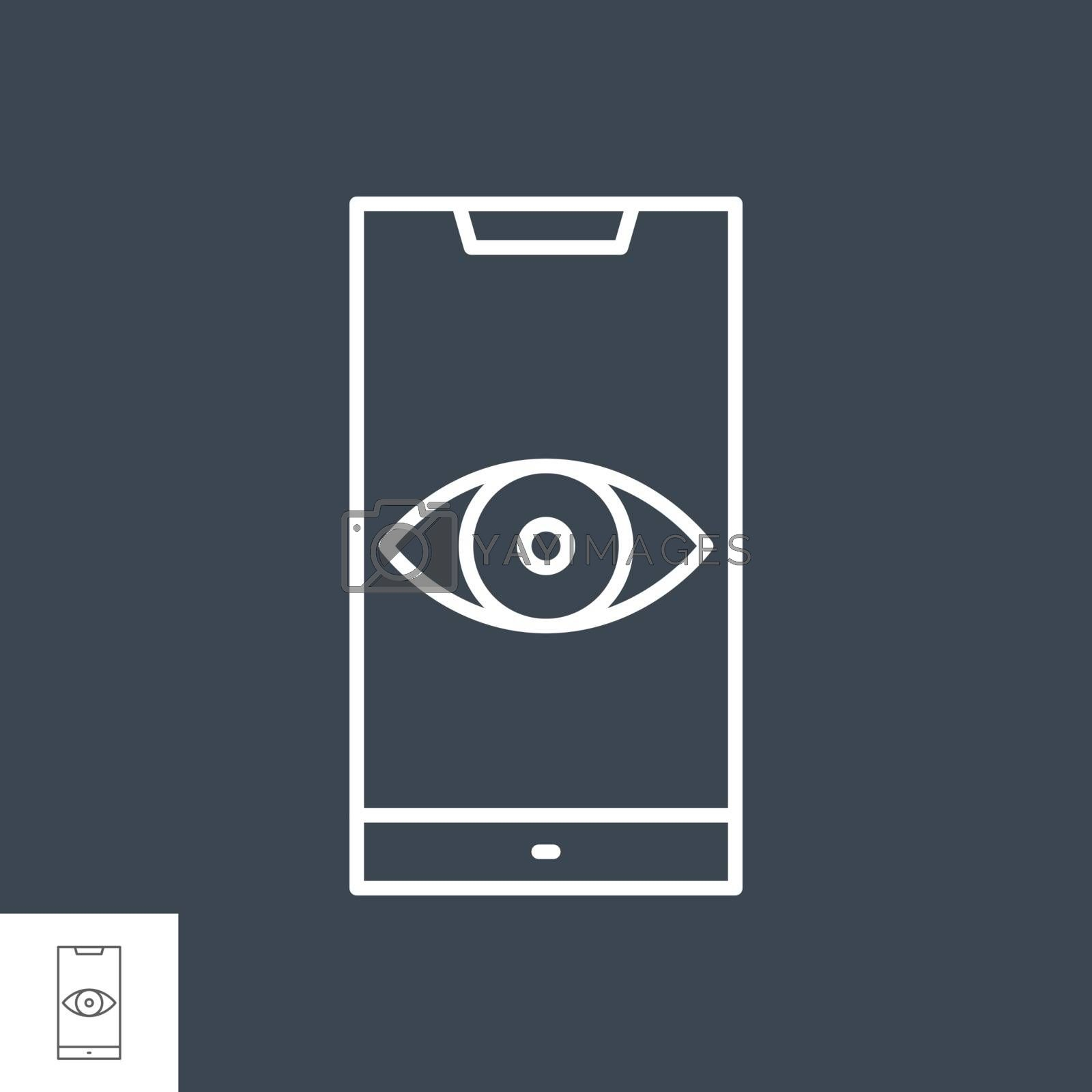 Surveillance smartphone related vector thin line icon. by smoki
