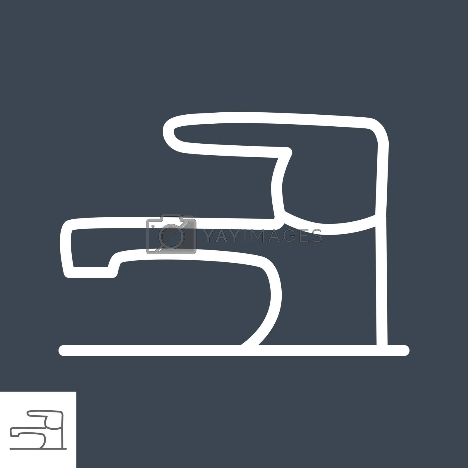 Tap Thin Line Vector Icon Isolated on the Black Background.