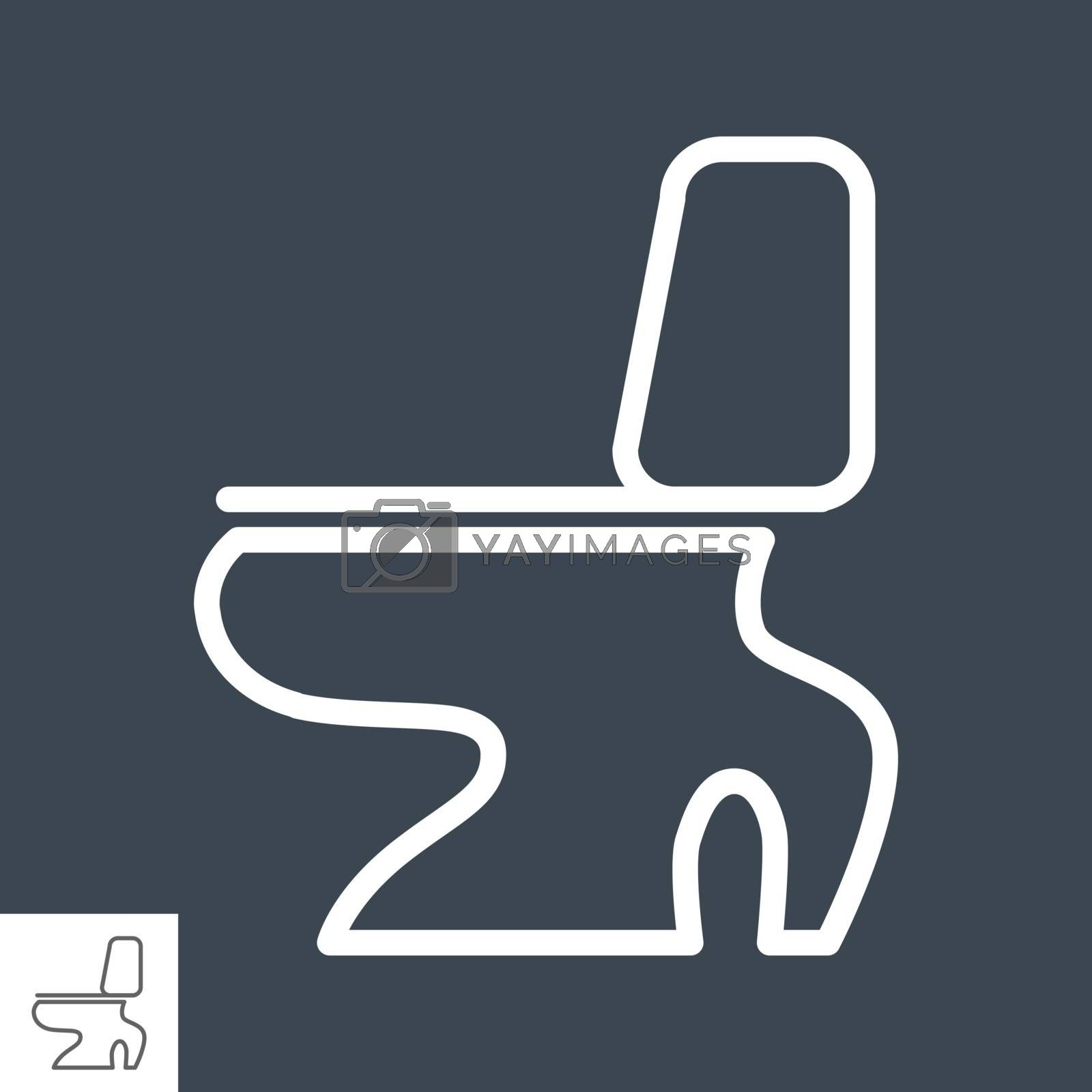Toilet Thin Line Vector Icon Isolated on the Black Background.