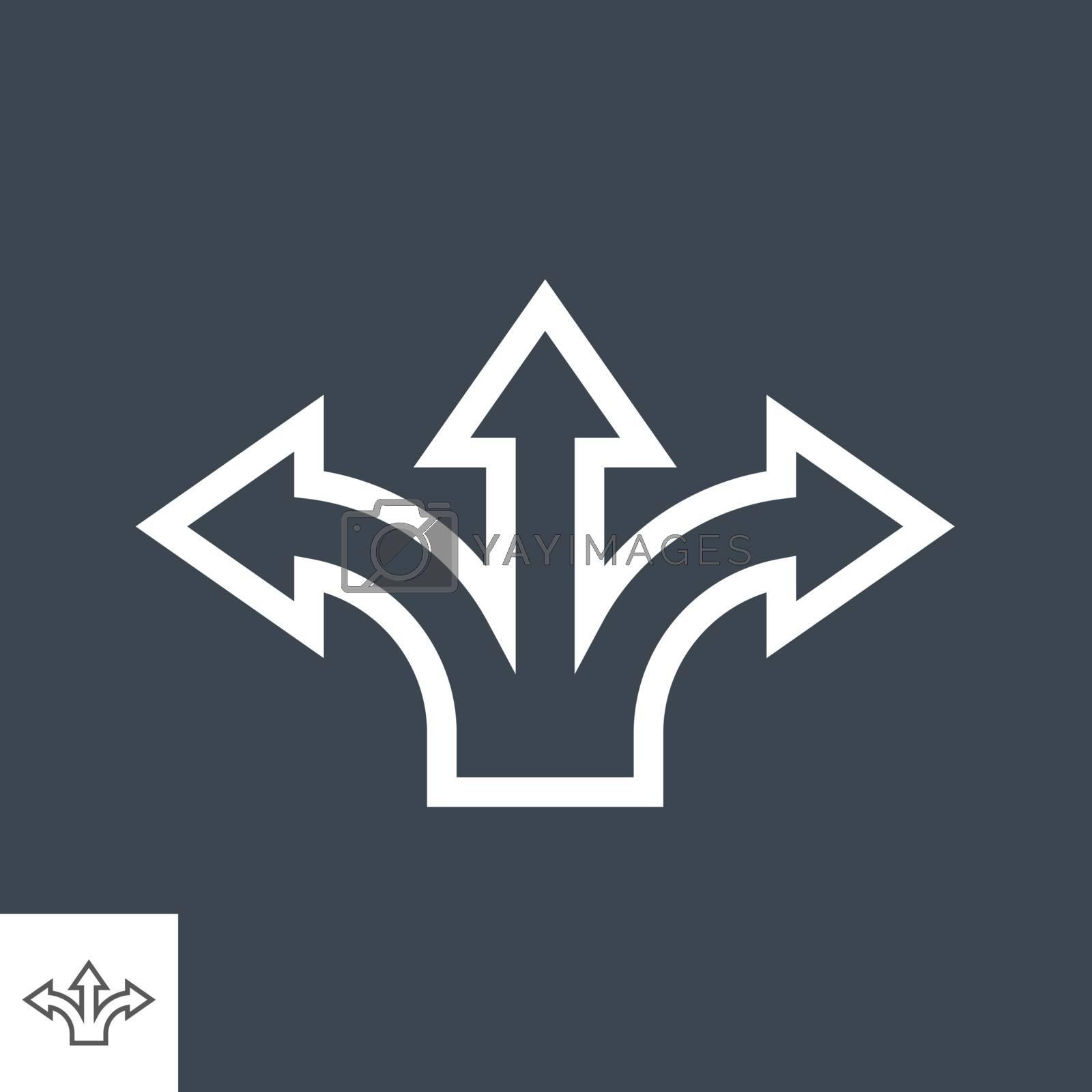 Three-Way Direction Arrow Thin Line Vector Icon by smoki